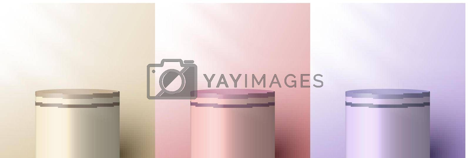 Royalty free image of Set of 3D realistic brown beige, pink, purple pedestal backdrop for product display by phochi