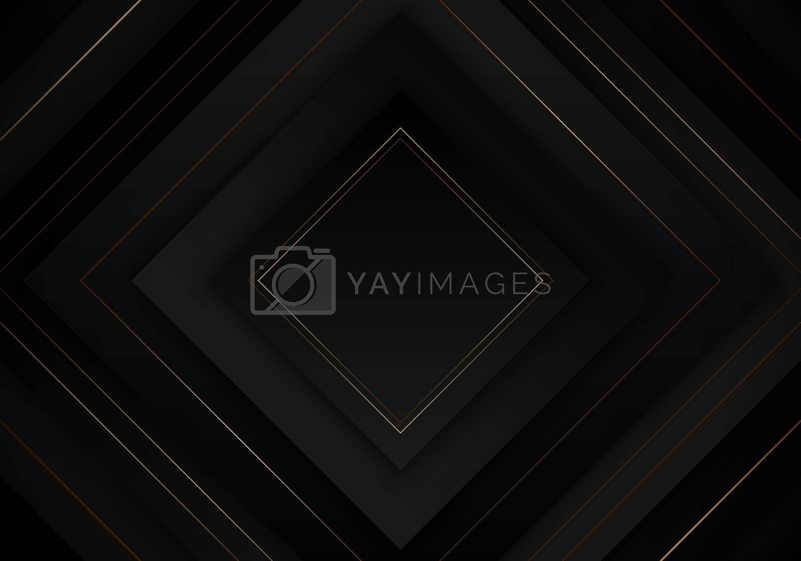 Royalty free image of 3D elegant abstract black square layered with golden lines on dark background luxury style by phochi