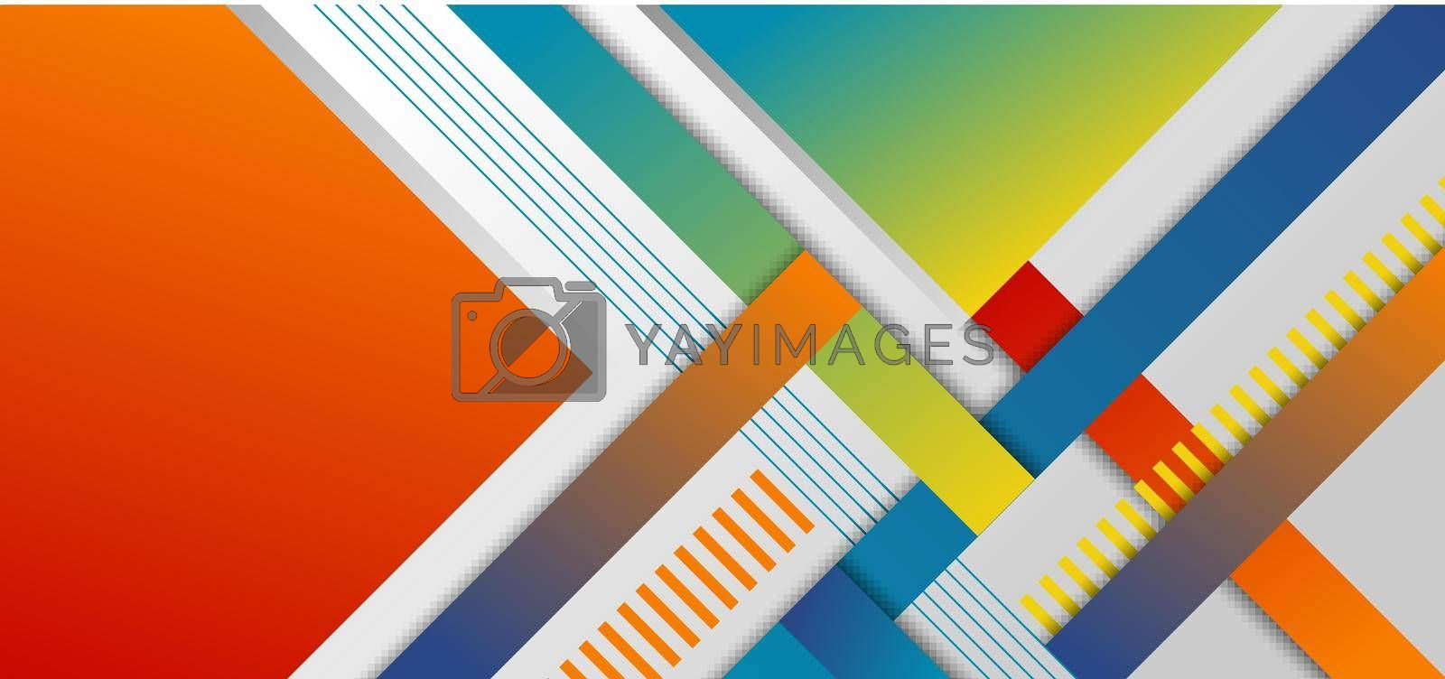 Royalty free image of Abstract headline banner template geometric and stripes pattern bright color on white background by phochi