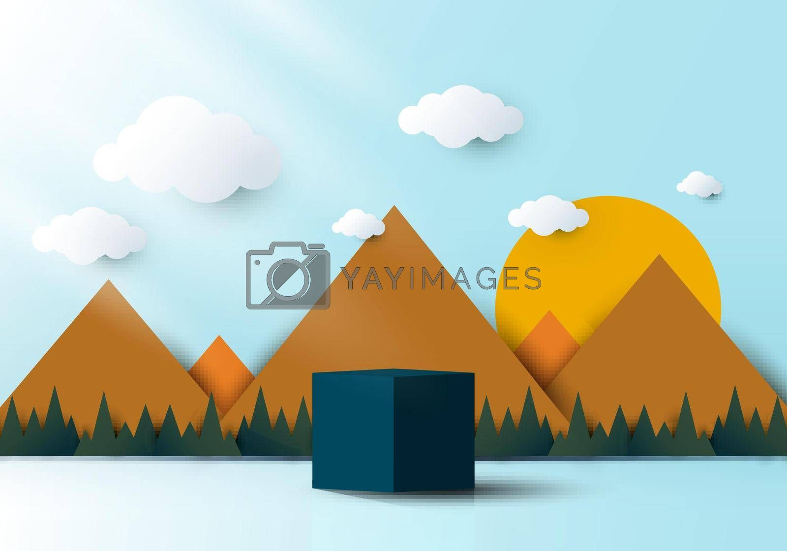 Royalty free image of 3D realistic blue cube shaped pedestal podium with landscape nature by phochi