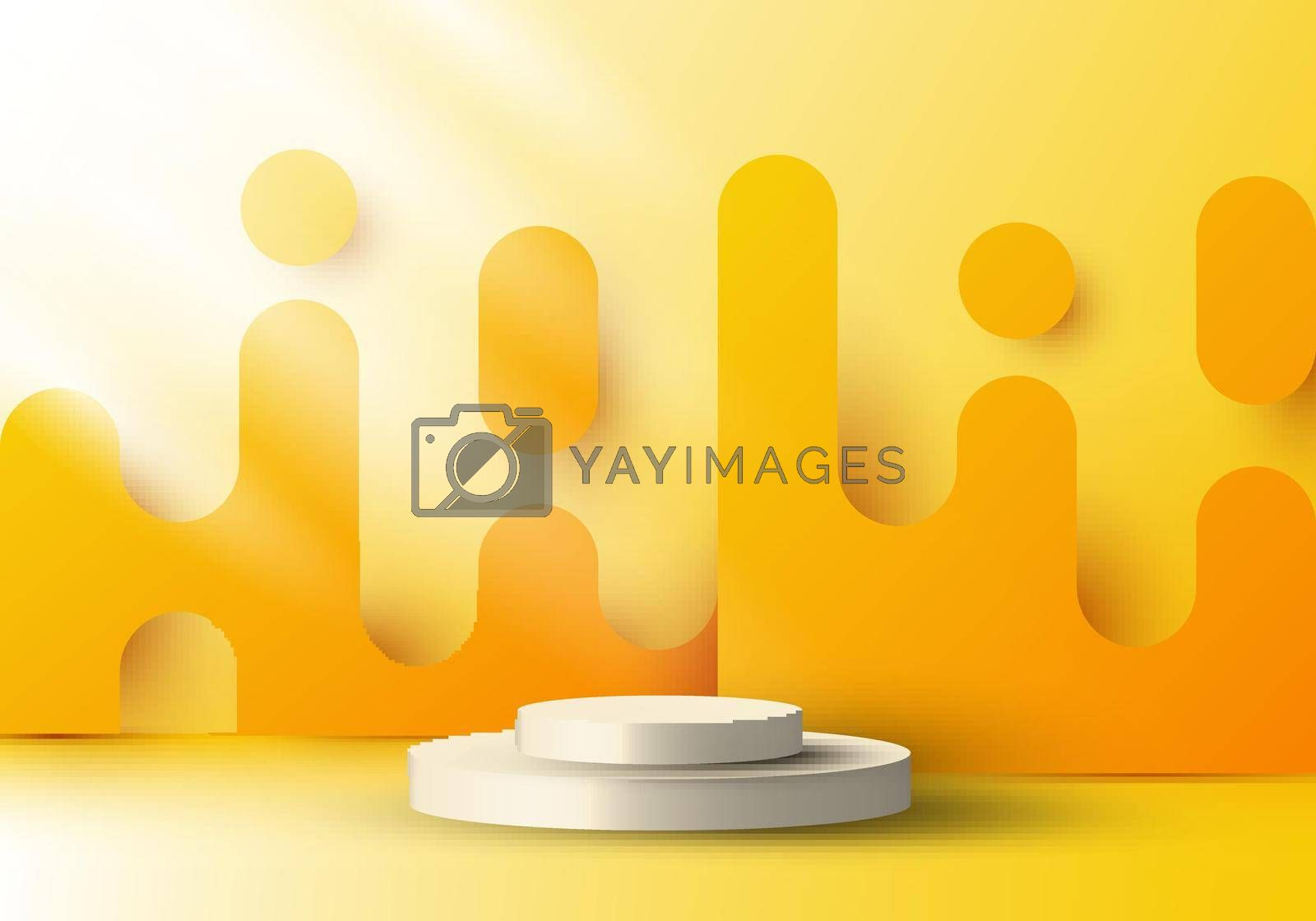 Royalty free image of 3D realistic display platform with yellow rounded lines backdrop graphic and lighting by phochi