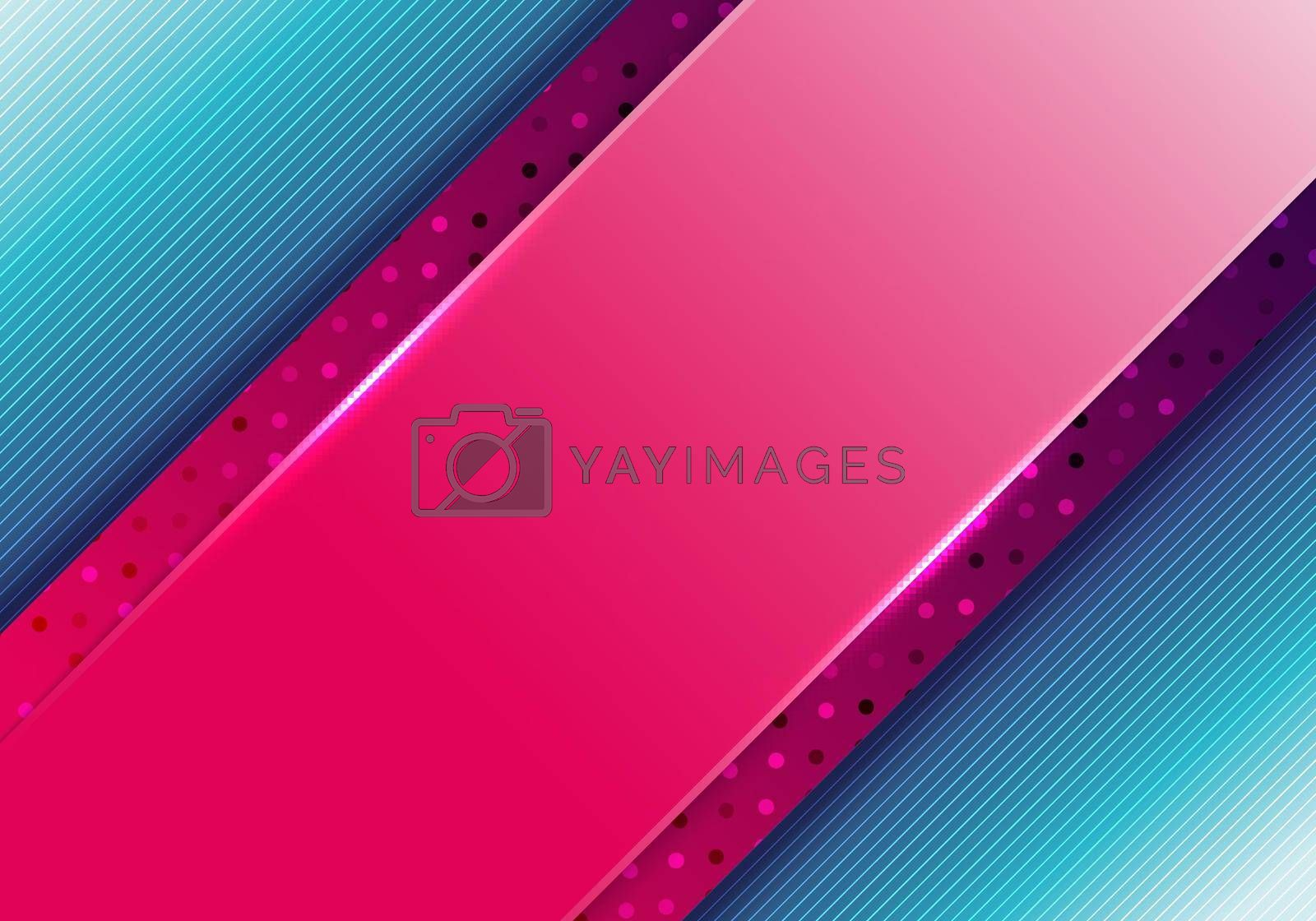 Royalty free image of Abstract business presentation template pink diagonal stripes with polka dot pattern on blue background by phochi