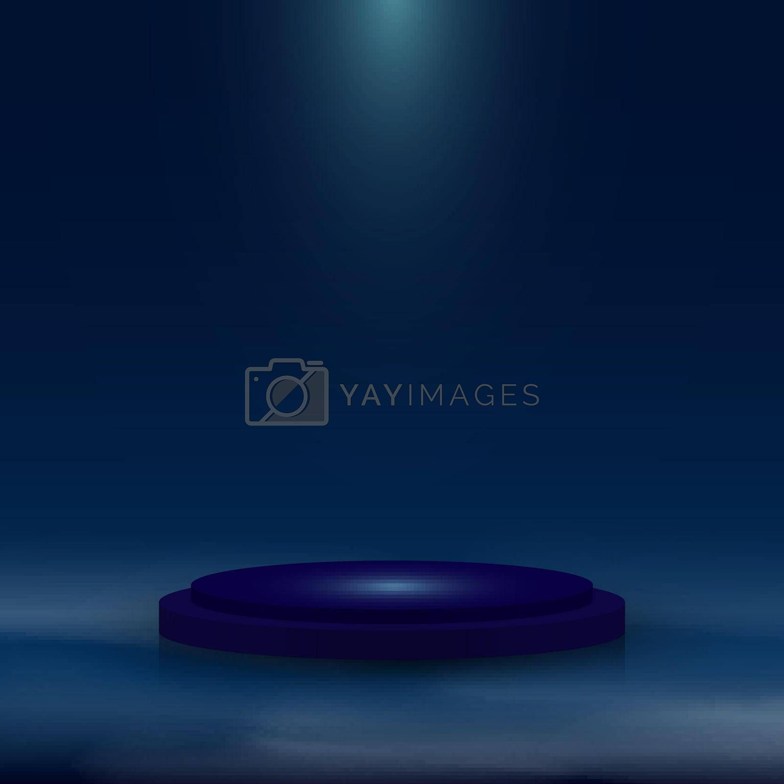 Royalty free image of 3D realistic blue pedestal with lighting and mist on dark blue background by phochi