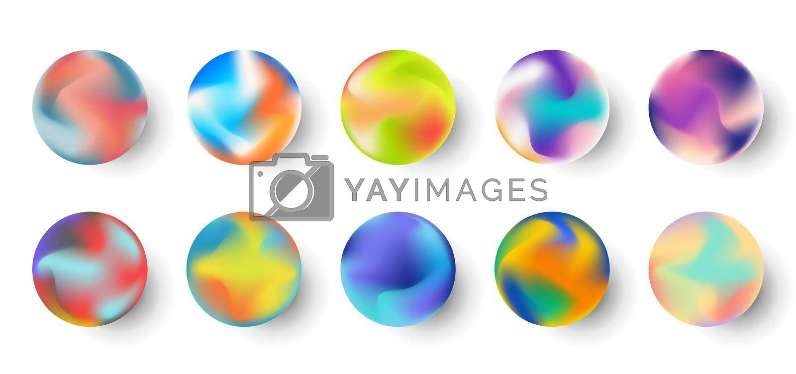 Royalty free image of Set of gradient colorful sphere fluid shape elements isolated on white background by phochi