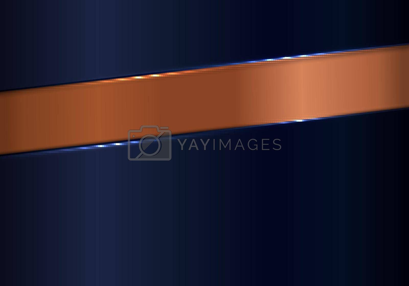 Royalty free image of Abstract shiny blue and copper metallic background and texture luxury style by phochi