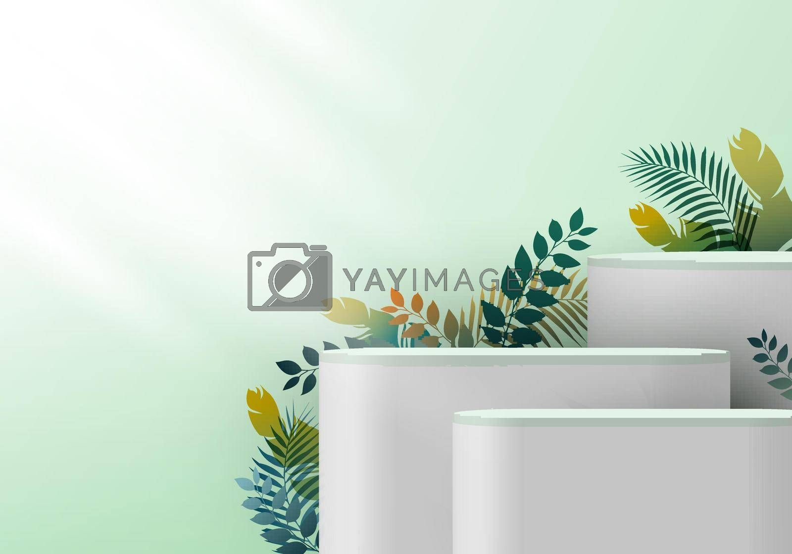 Royalty free image of 3D realistic white pedestal on green mint backdrop for product display with tropical leaves by phochi