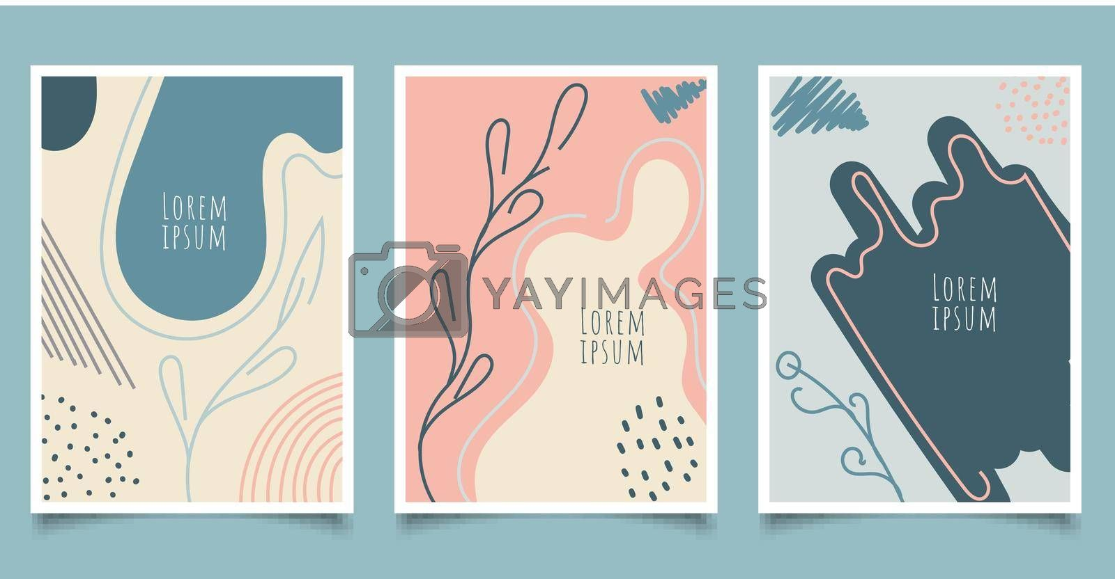 Royalty free image of Set of cover brochure template abstract hand drawn pattern organic shapes with line pastel color background by phochi