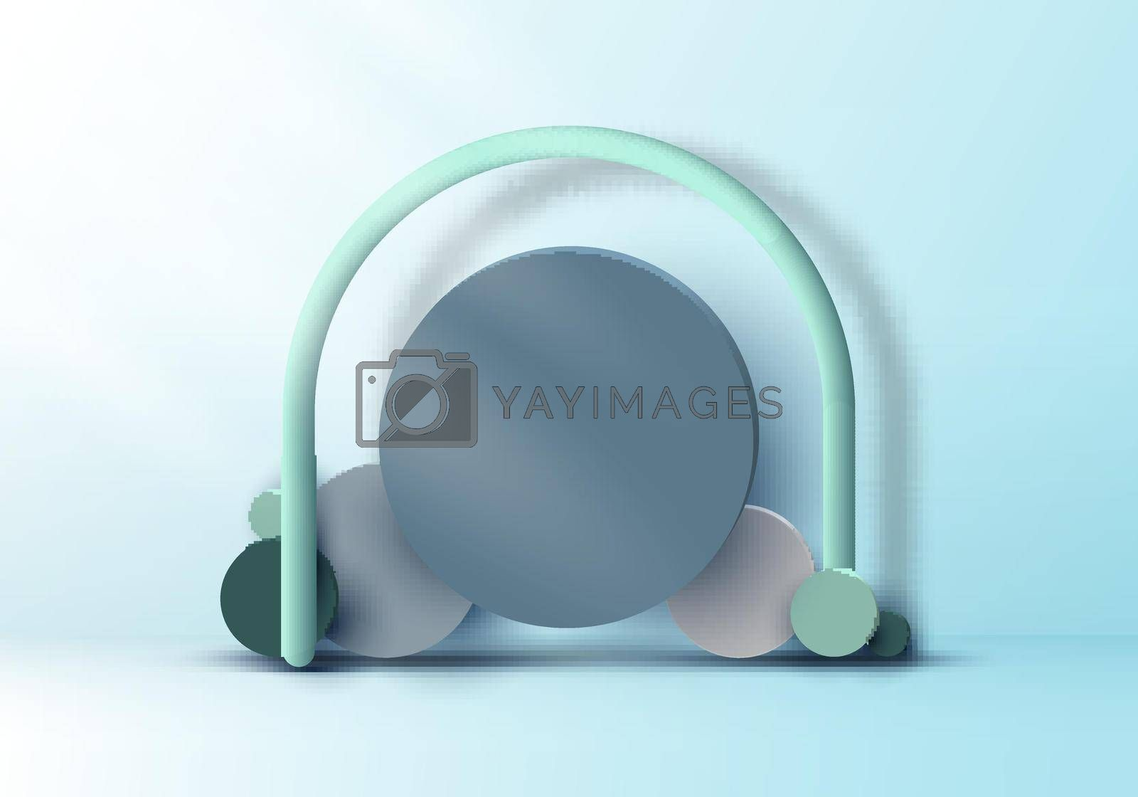 Royalty free image of 3D realistic set circles geometric group form backdrop mockup on soft blue background with lighting by phochi