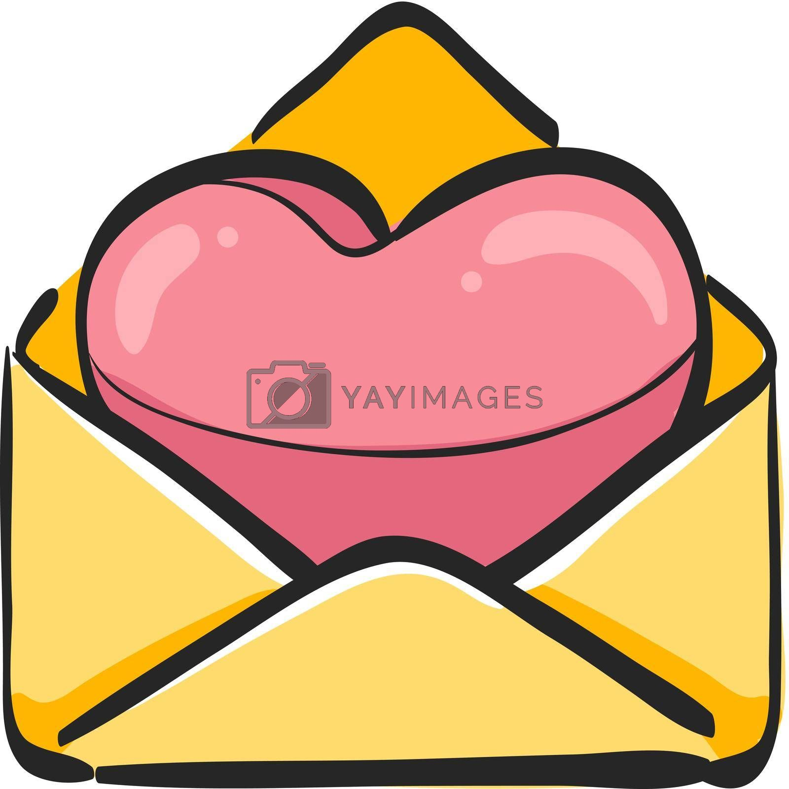 Envelope with heart icon in color drawing. Love romance receive surprise gift