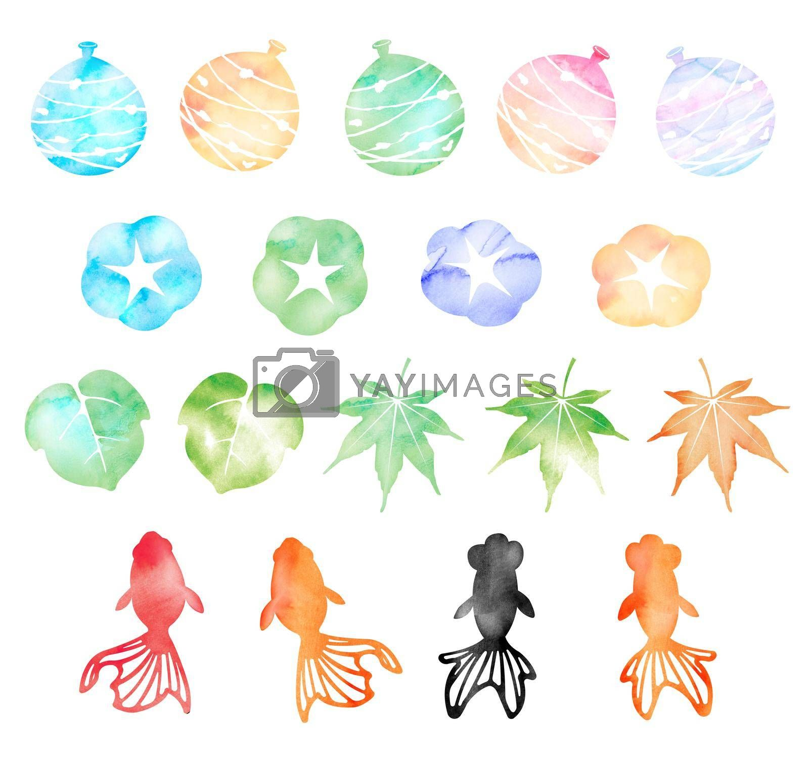 Royalty free image of Summer motif watercolor painting illustration set for summer greeting card etc.  by barks