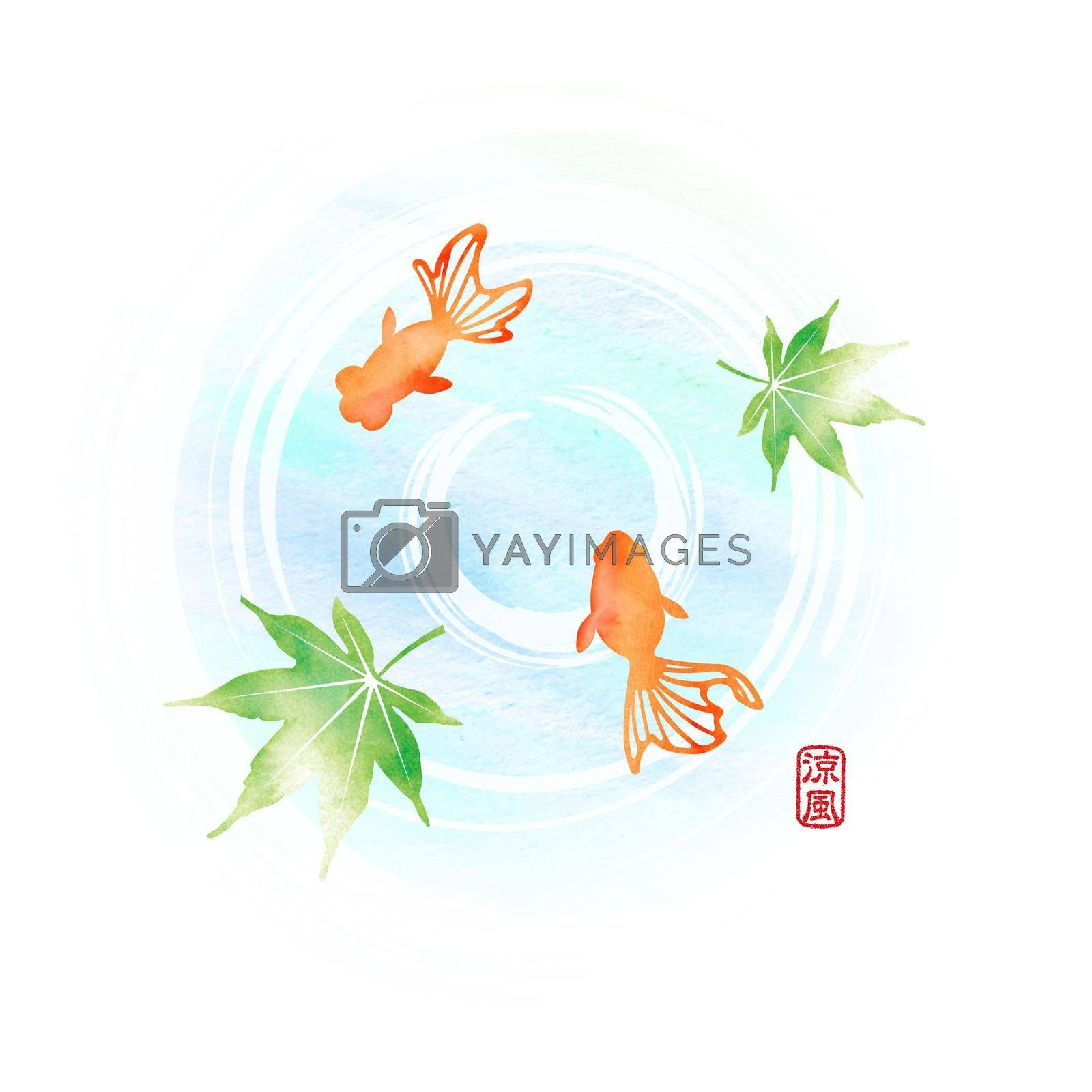 Royalty free image of Summer motif watercolor painting illustration for summer greeting card etc.   Pond and goldfishes by barks