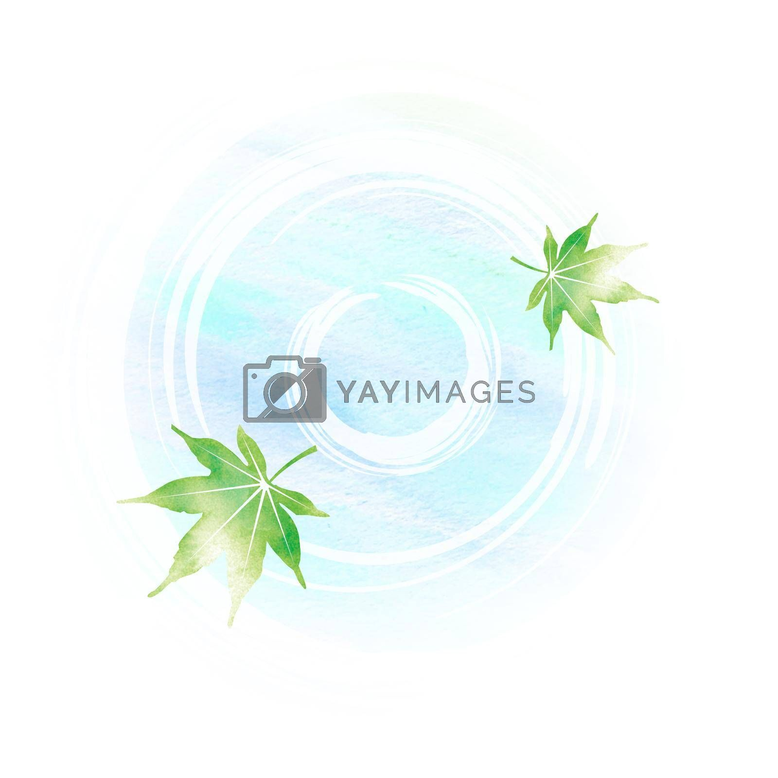 Royalty free image of Summer motif watercolor painting illustration for summer greeting card etc. | Pond and maple leaves by barks