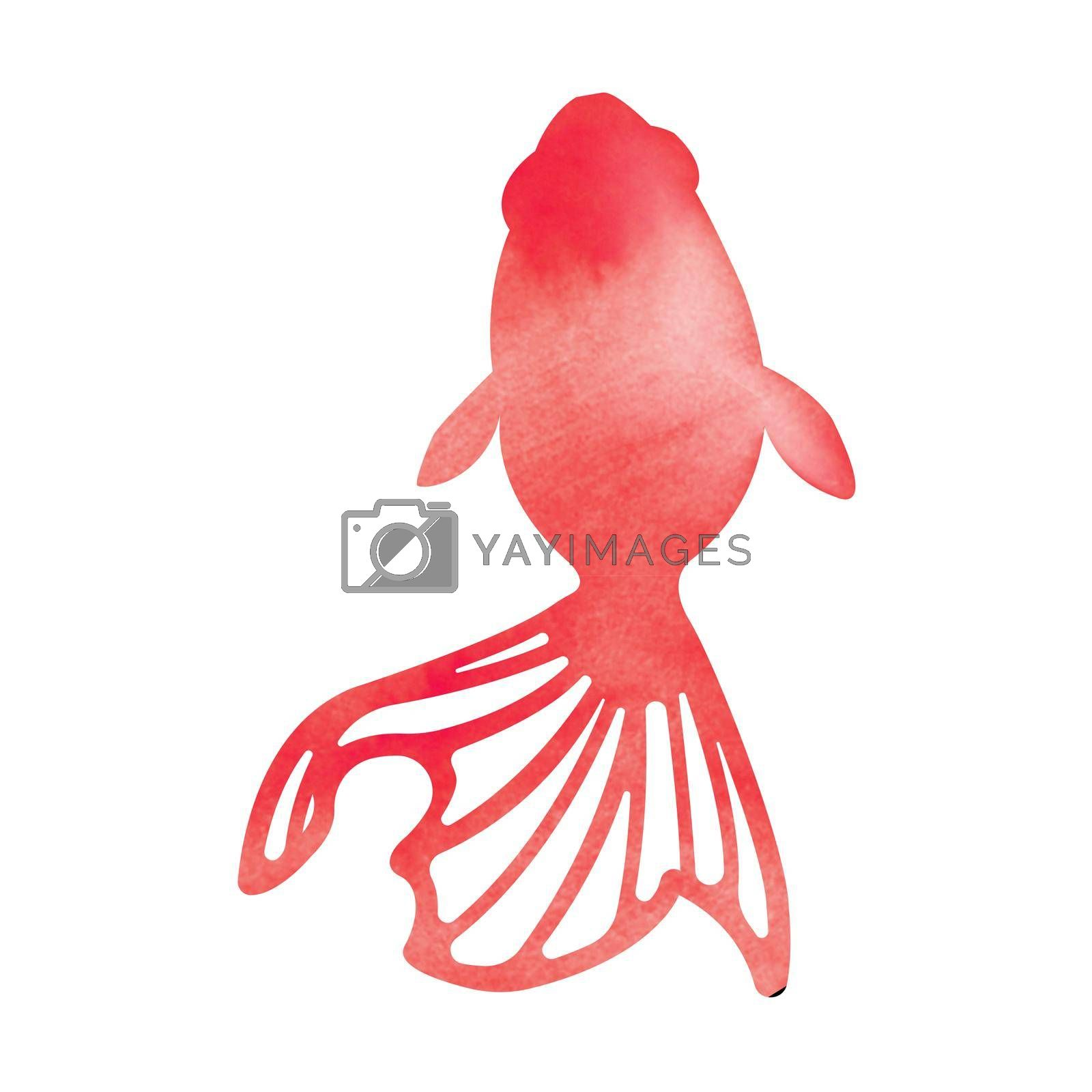 Royalty free image of Summer motif watercolor painting illustration for summer greeting card etc. | goldfish by barks