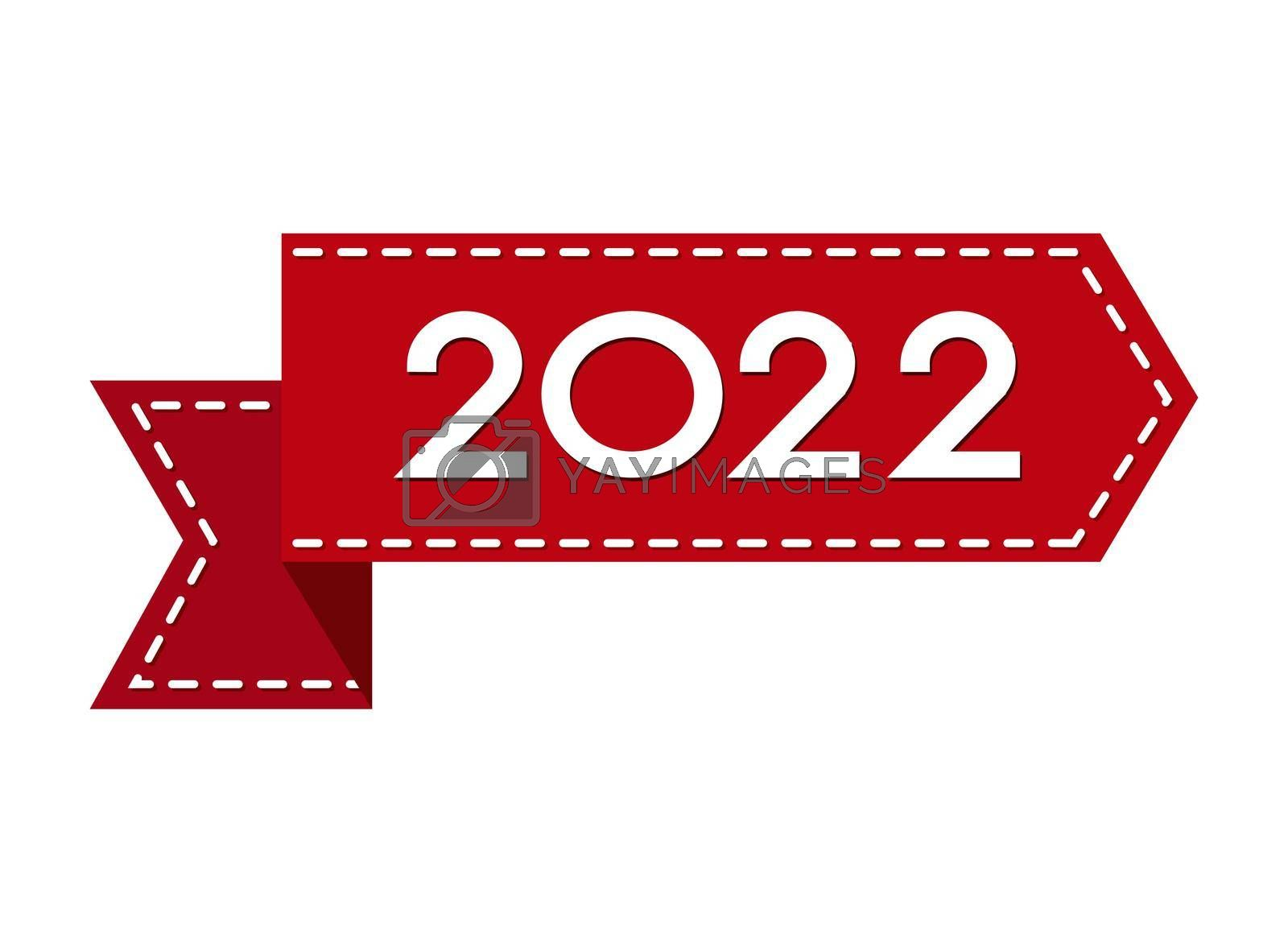 Royalty free image of A red ribbon with the number 2022. The new year is 2022. Merry Christmas and Happy New Year. Vector illustration.  by Grommik
