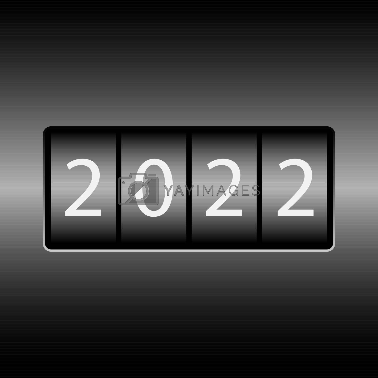 Odometer with the numbers 2022. New year 2022 is on the odometer. Merry Christmas and Happy New Year. Vector illustration.