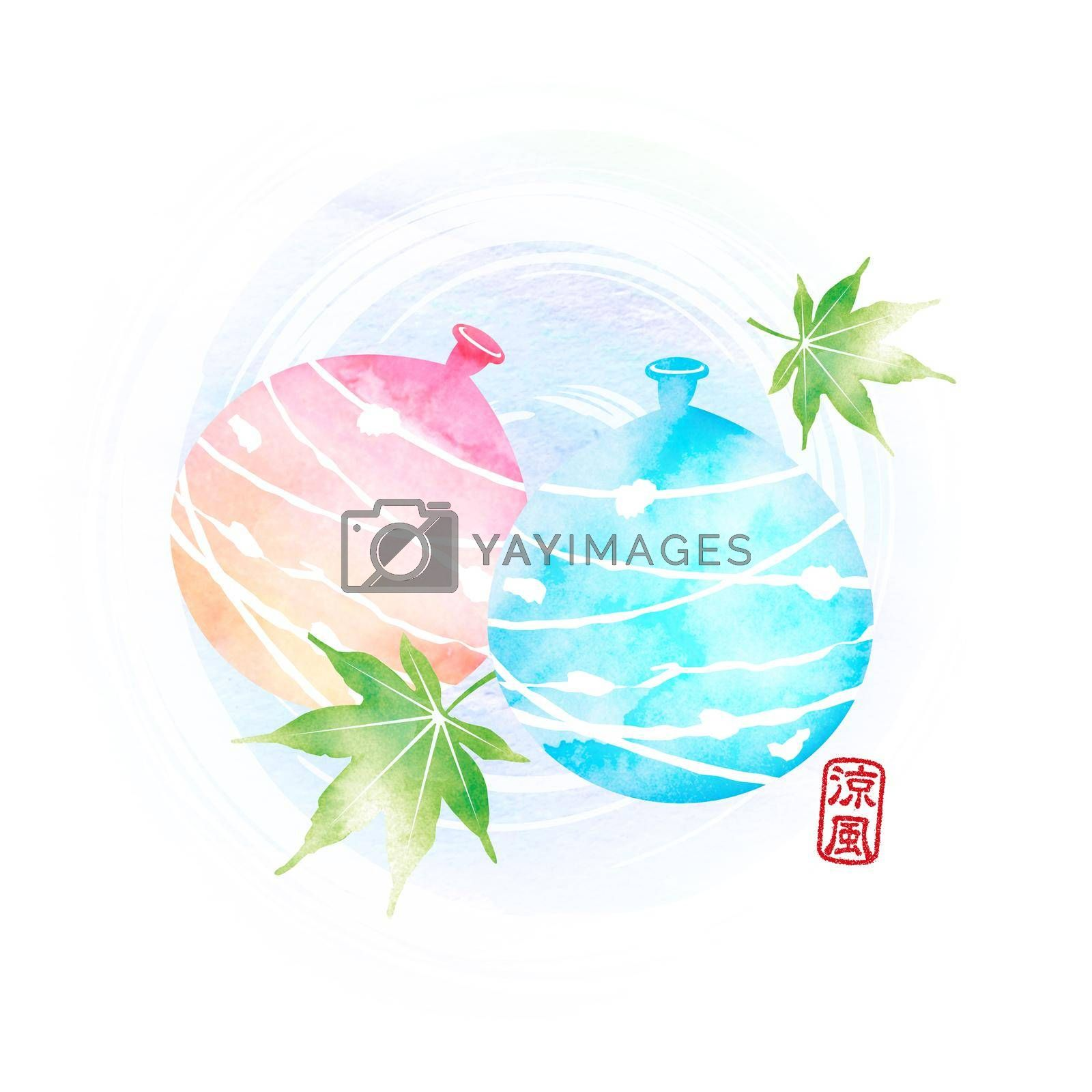Royalty free image of Summer motif watercolor painting illustration for summer greeting card etc. | water balloons by barks