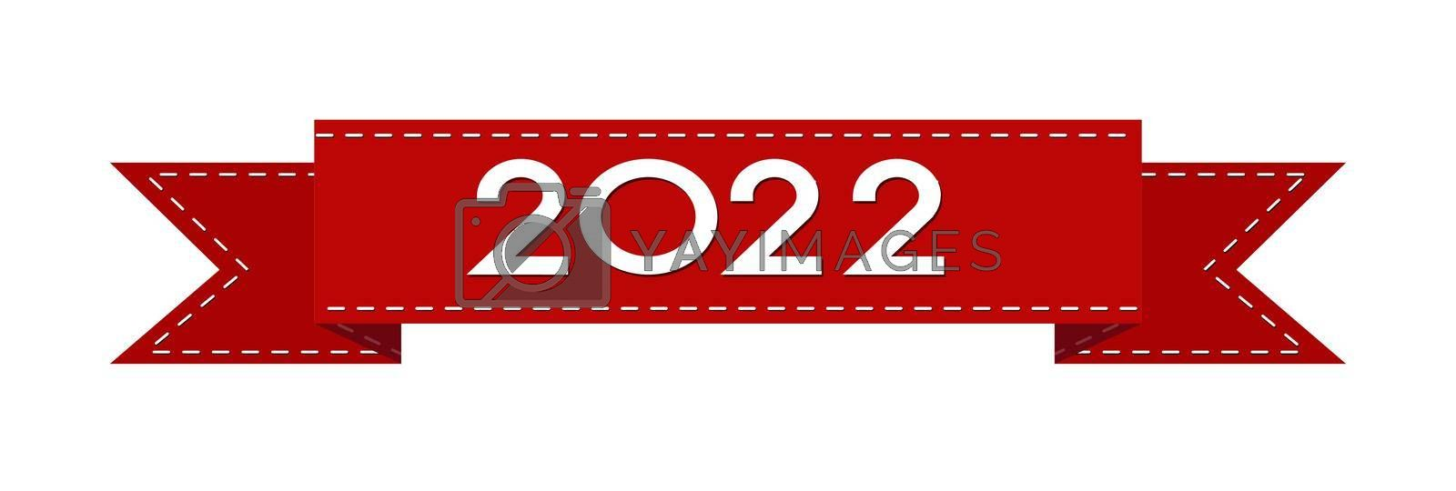 A red ribbon with the number 2022. The new year is 2022. Merry Christmas and Happy New Year. Vector illustration.