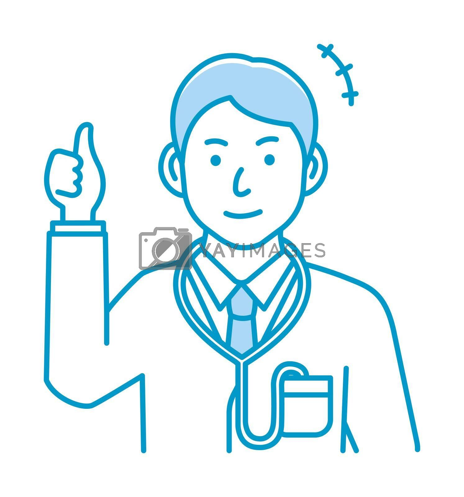 Royalty free image of Young male doctor gesture variation illustration   thumb up, OK by barks