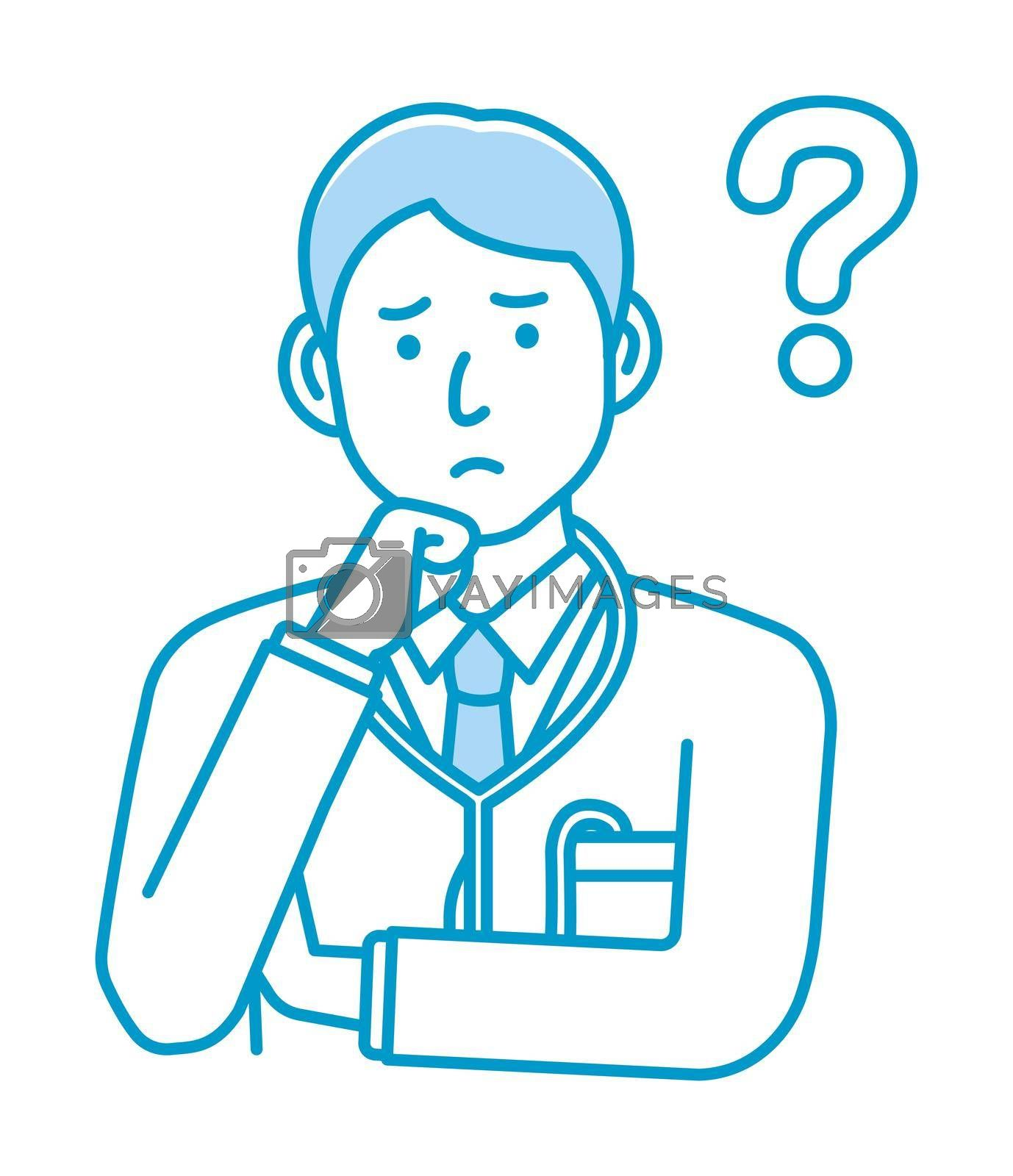 Royalty free image of Young male doctor gesture variation illustration   thinking, question, confusion by barks