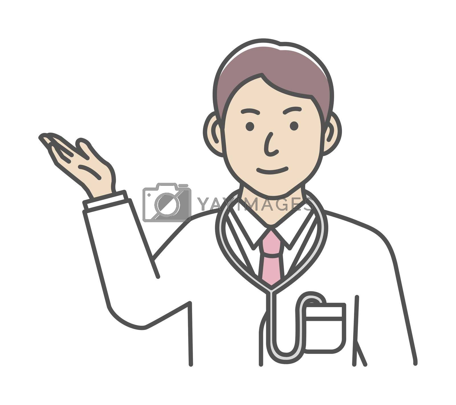 Royalty free image of Young male doctor gesture variation illustration   navigate, recommend by barks