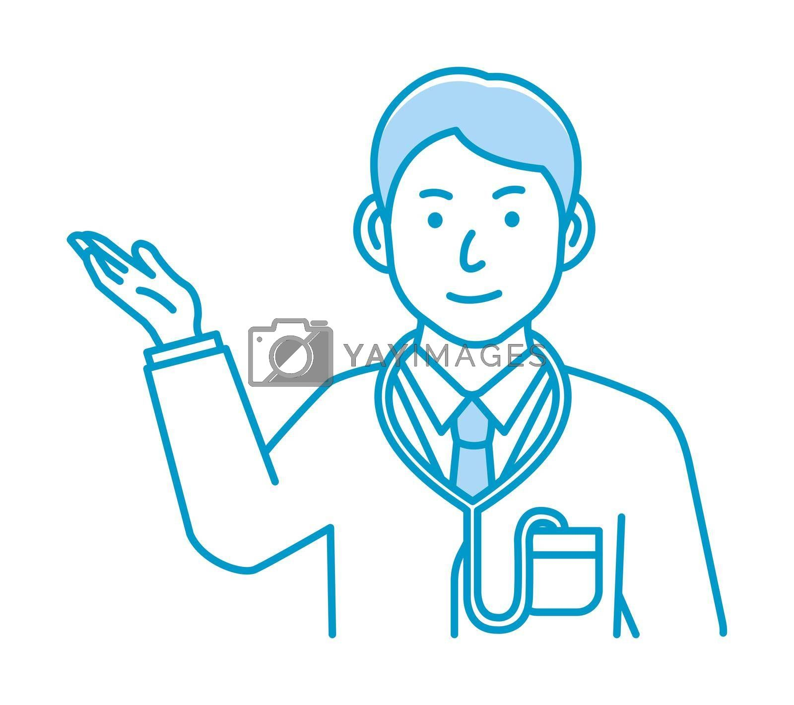 Royalty free image of Young male doctor gesture variation illustration | navigate, recommend by barks