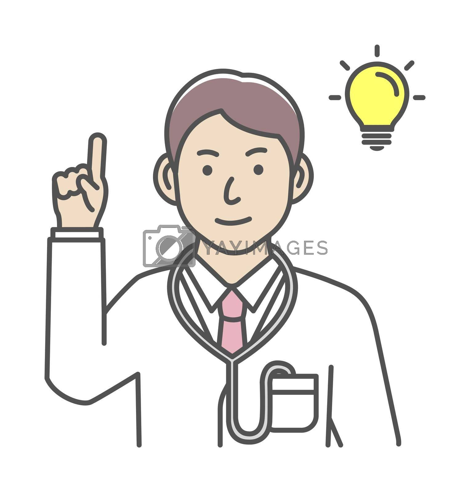 Royalty free image of Young male doctor gesture variation illustration | inspiration, idea, solution by barks