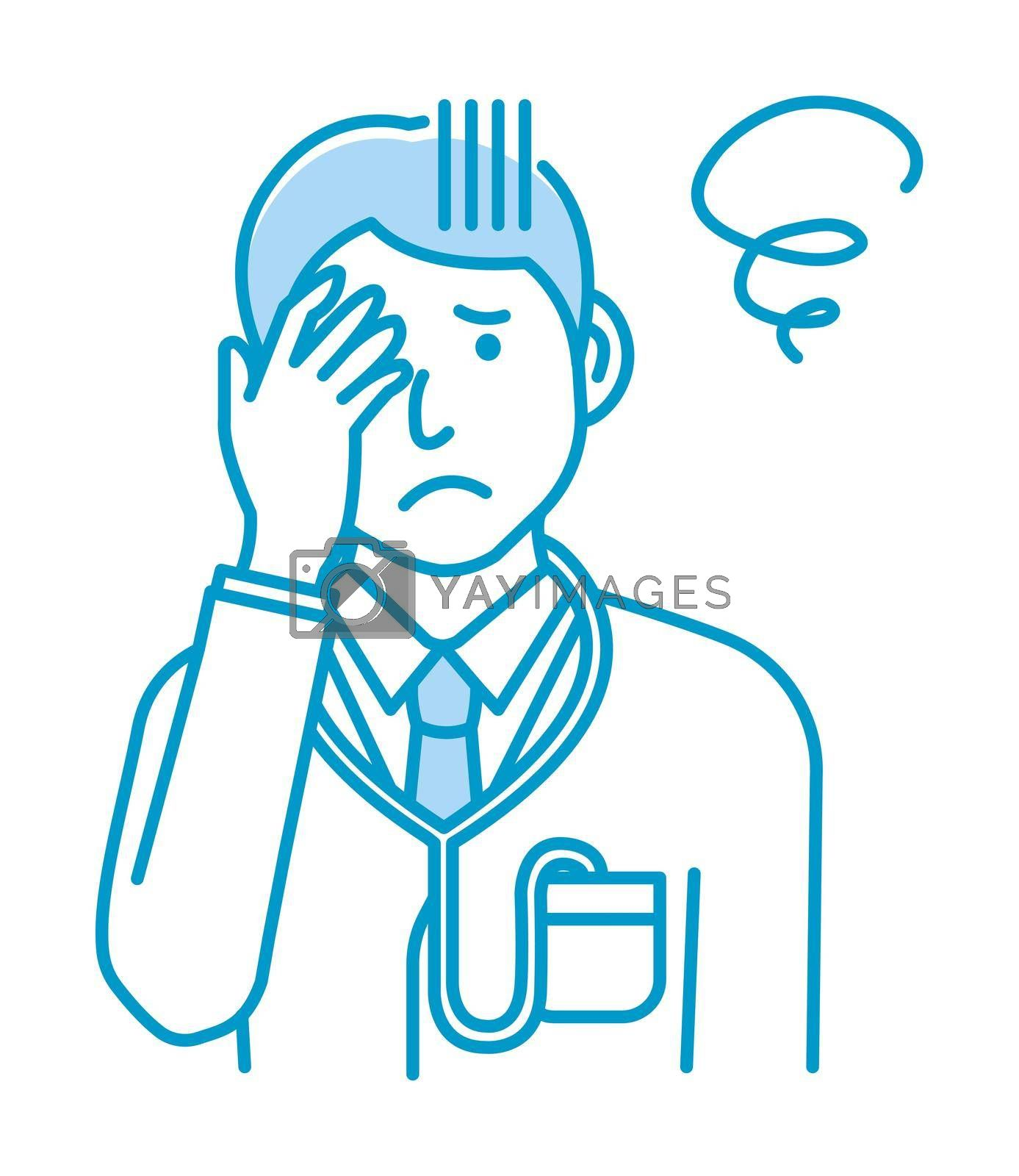 Royalty free image of Young male doctor gesture variation illustration |  trouble, depression by barks