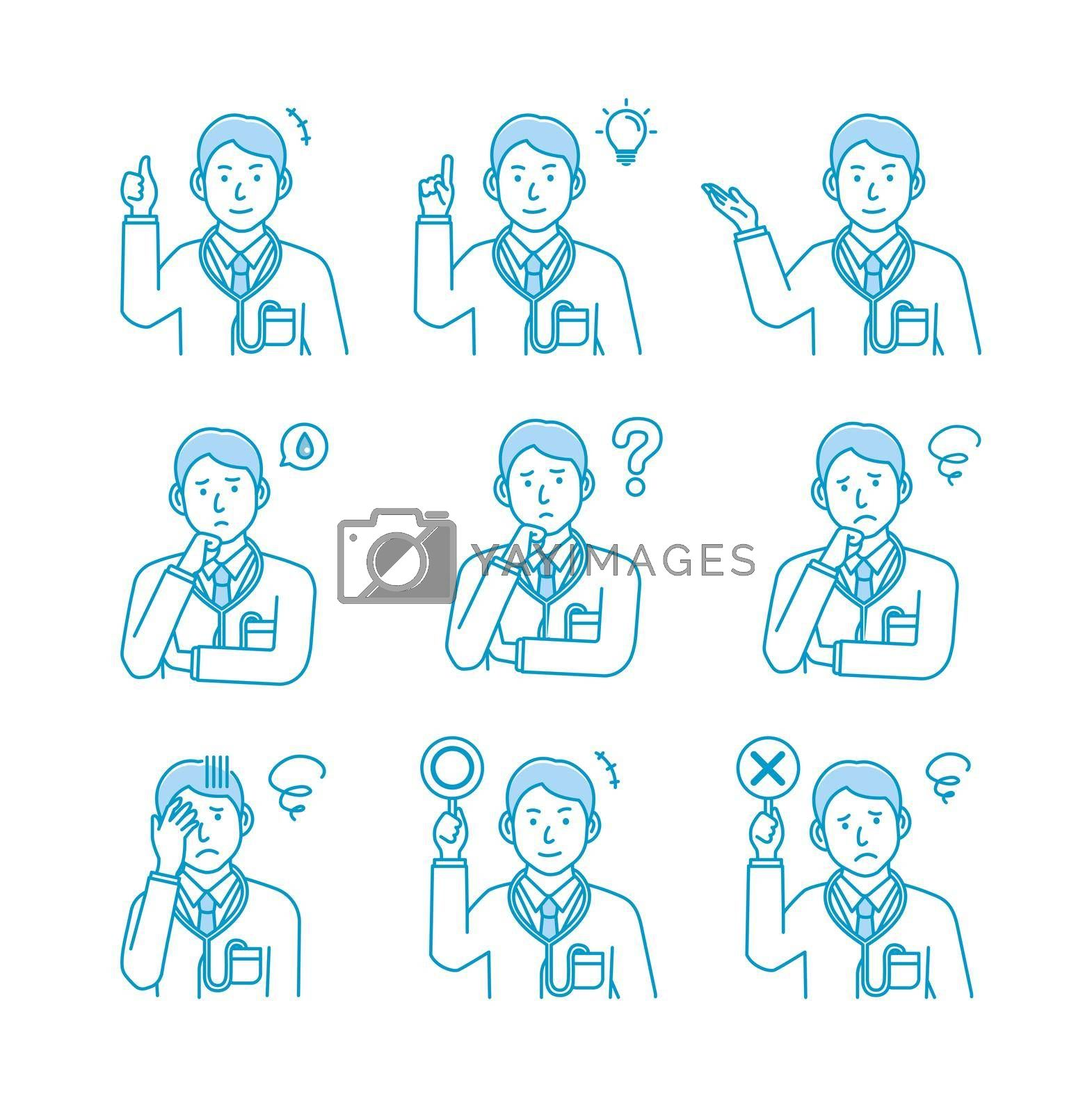 Royalty free image of Young male doctor gesture variation illustration set by barks