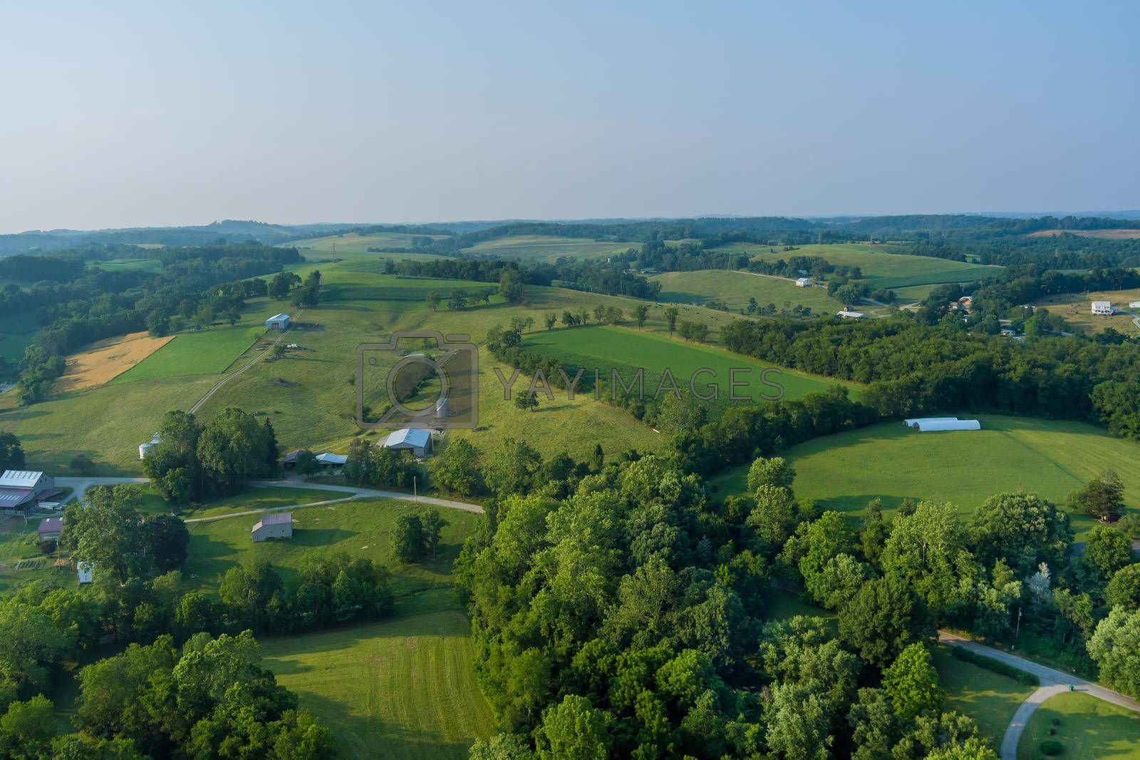 Royalty free image of An aerial view of farm farmland in Bentleyville town County Pennsylvania USA by ungvar