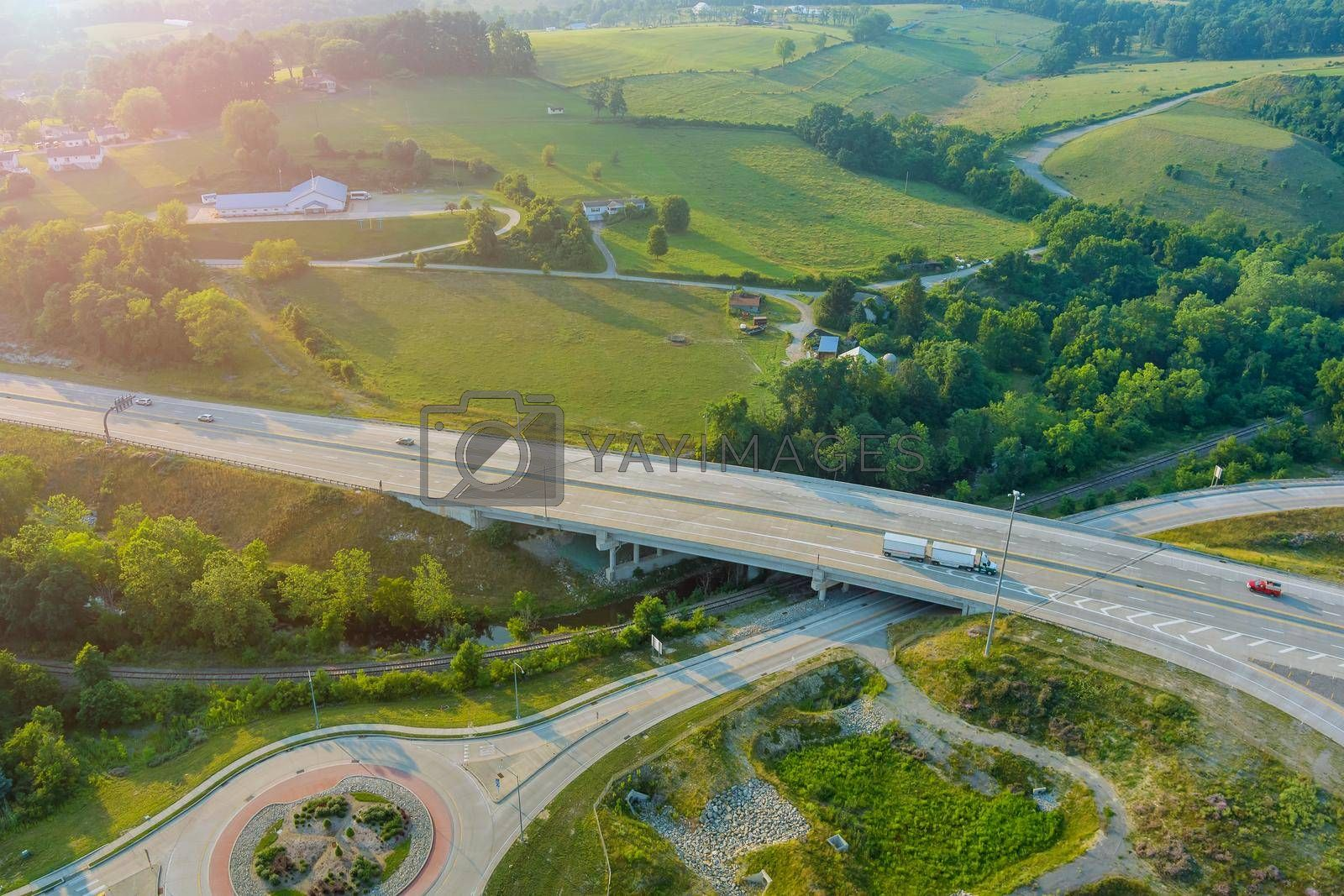Royalty free image of Aerial view of 70 road the Dwight D. Eisenhower highway near farm farmland in Bentleyville town in Pennsylvania US by ungvar