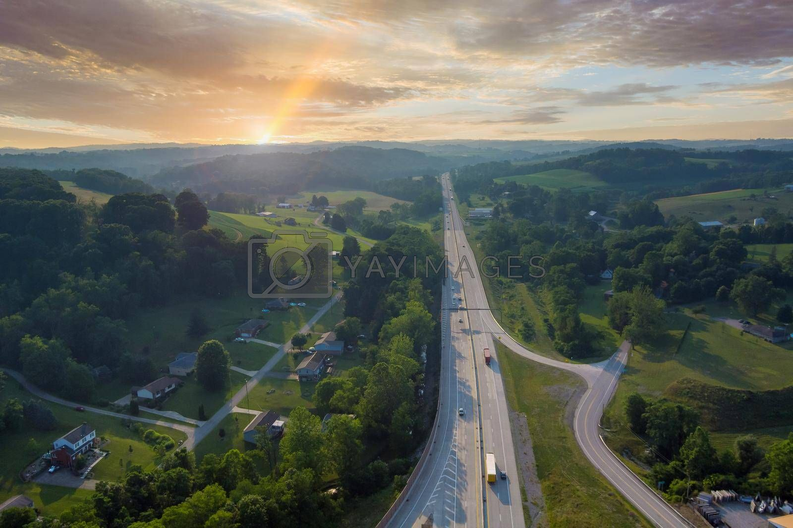 Royalty free image of Aerial view of Dwight D. Eisenhower highway 70 road near small Bentleyville town in Pennsylvania, USA by ungvar