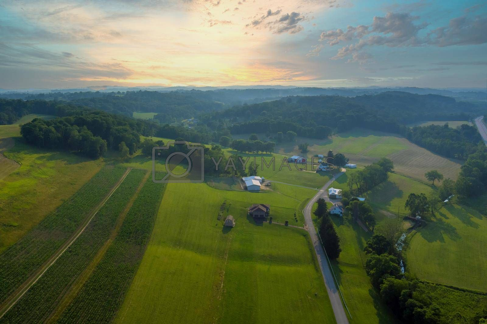 Royalty free image of Bentleyville town Landscape of villages on the hills farm house with Pennsylvania, US by ungvar