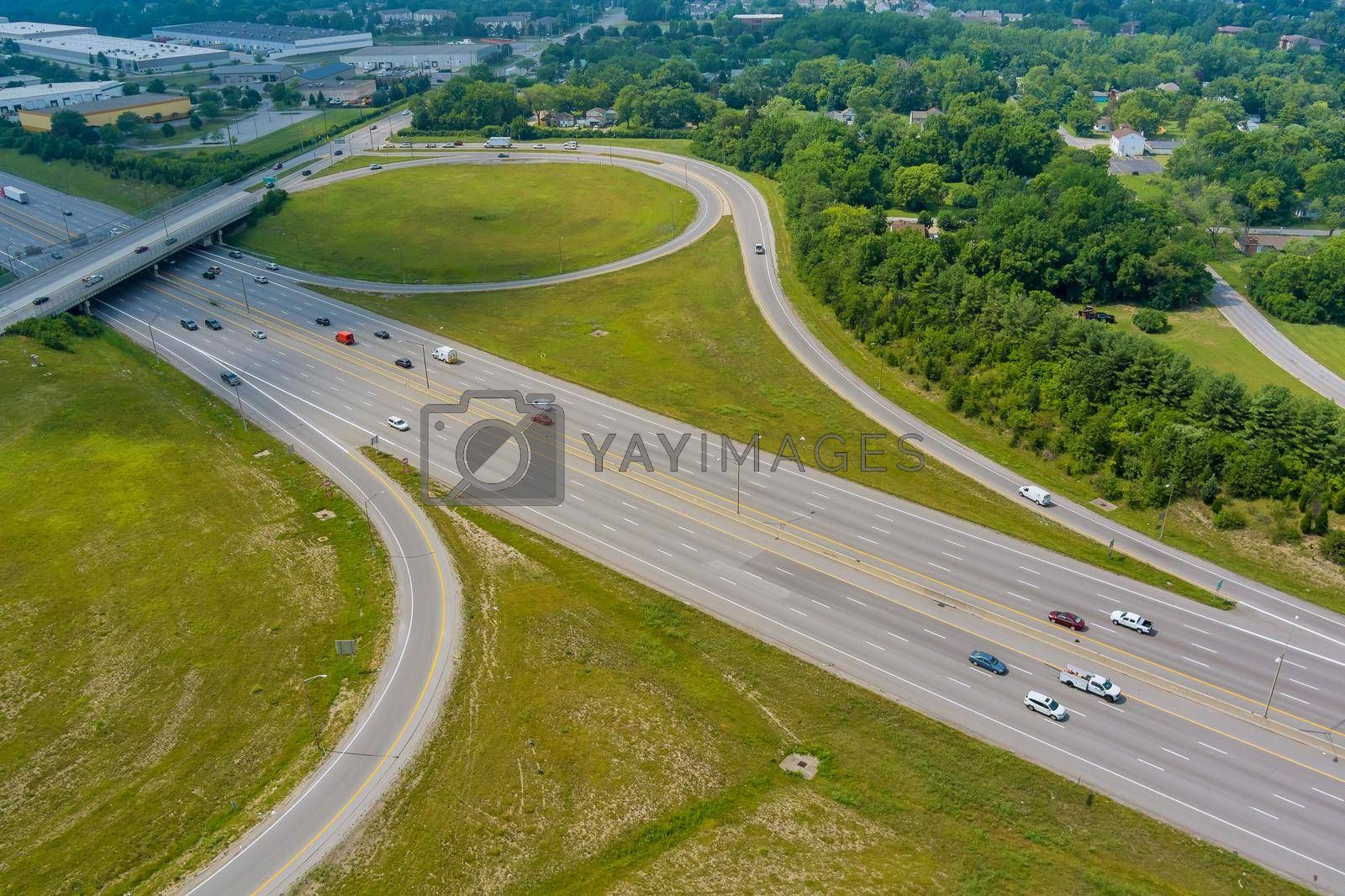 Royalty free image of Aerial view in Interstate 70 running through the Scioto Woods, Columbus, Ohio USA by ungvar