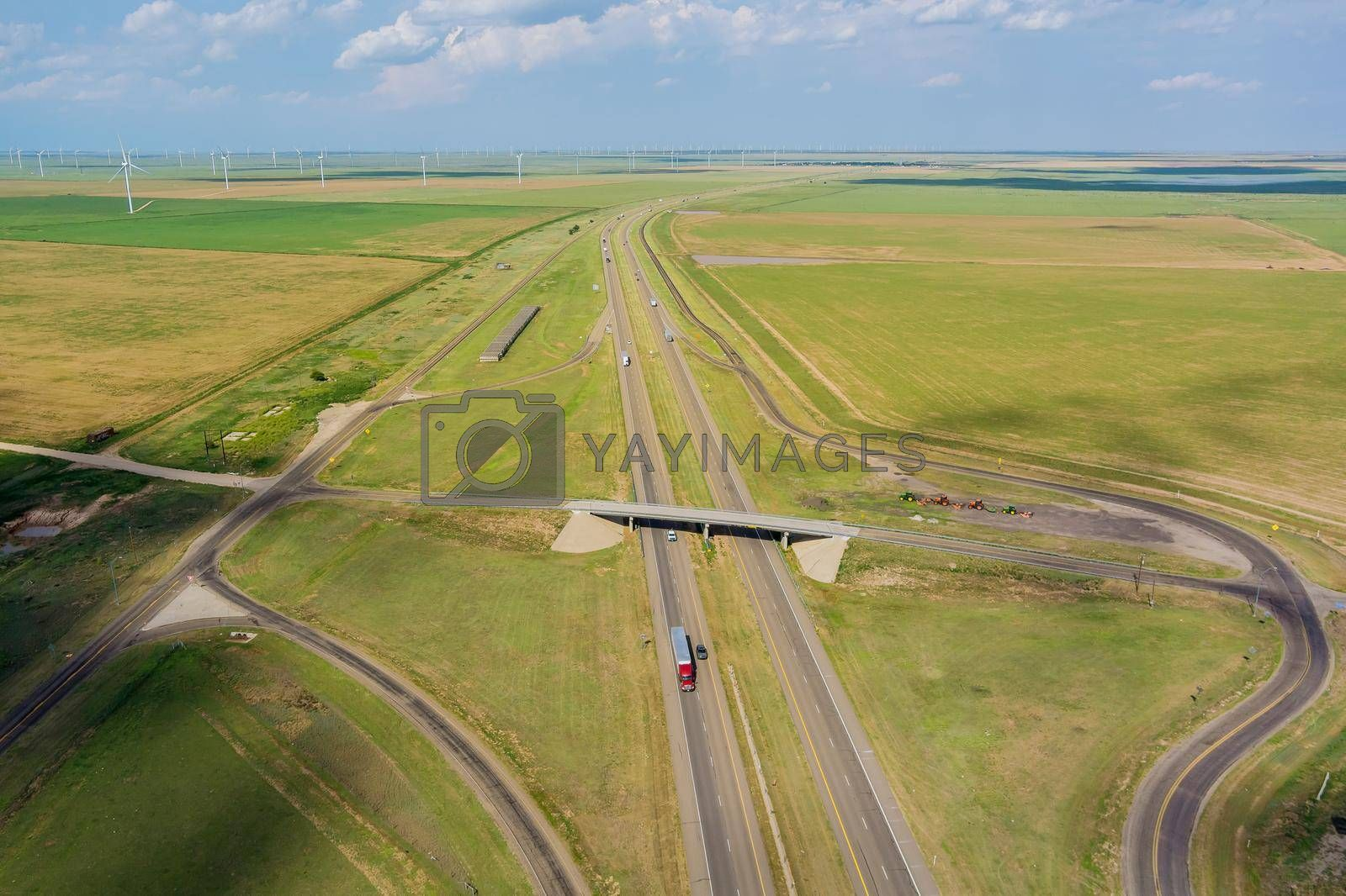 Royalty free image of Panorama aerial view of highway road junction from the height drone by ungvar