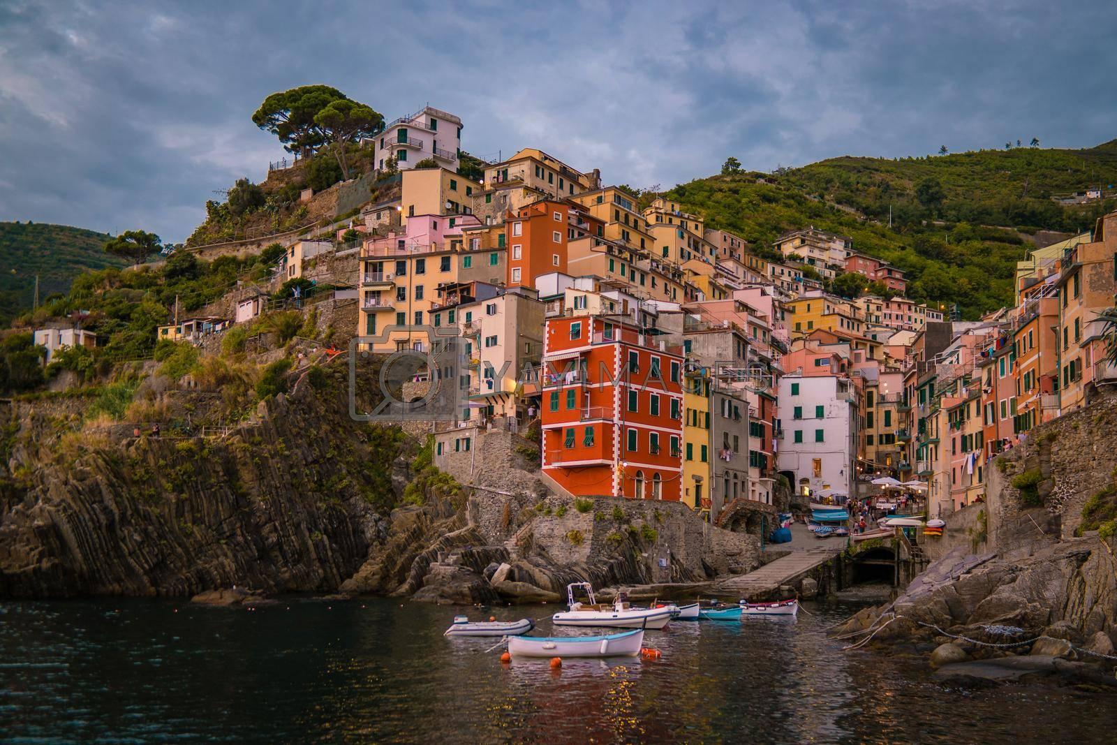 Riomaggiore Cinque Terre Wonderful view of Liguria, Italy, Europe. seascape of the Mediterranean sea. Traveling concept background. Riomaggiore Cique Terre Italy