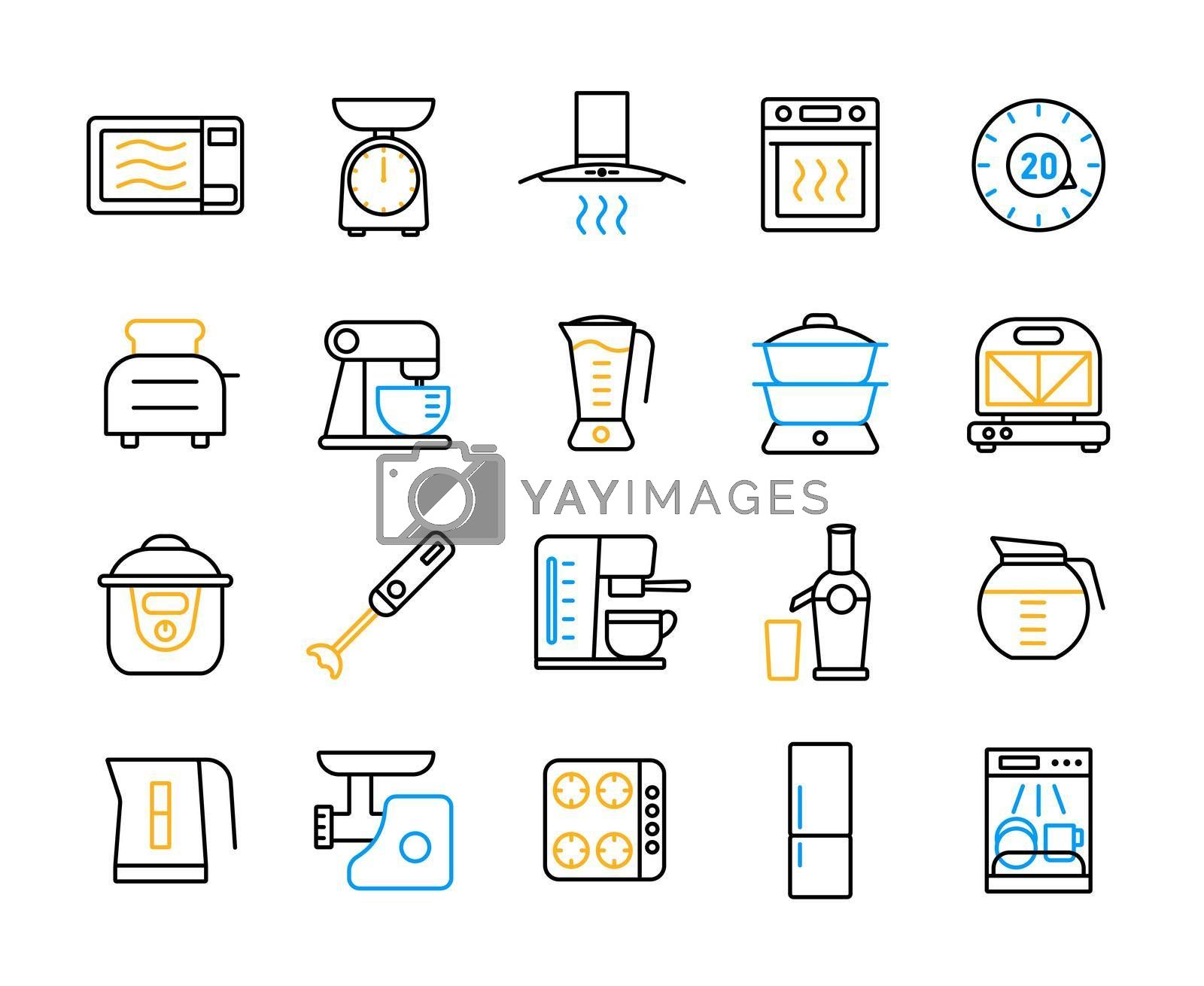 Royalty free image of Kitchen appliances electronic equipment flat icon set by nosik