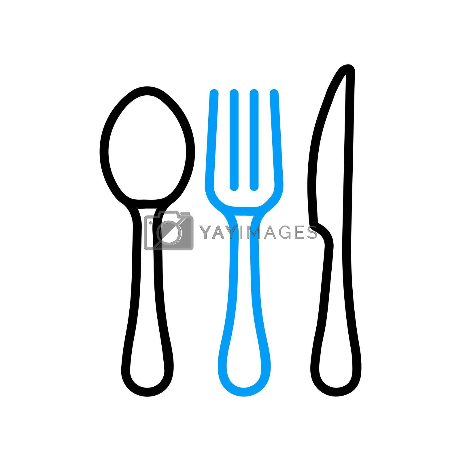 Royalty free image of Spoon fork and knife vector flat icon by nosik