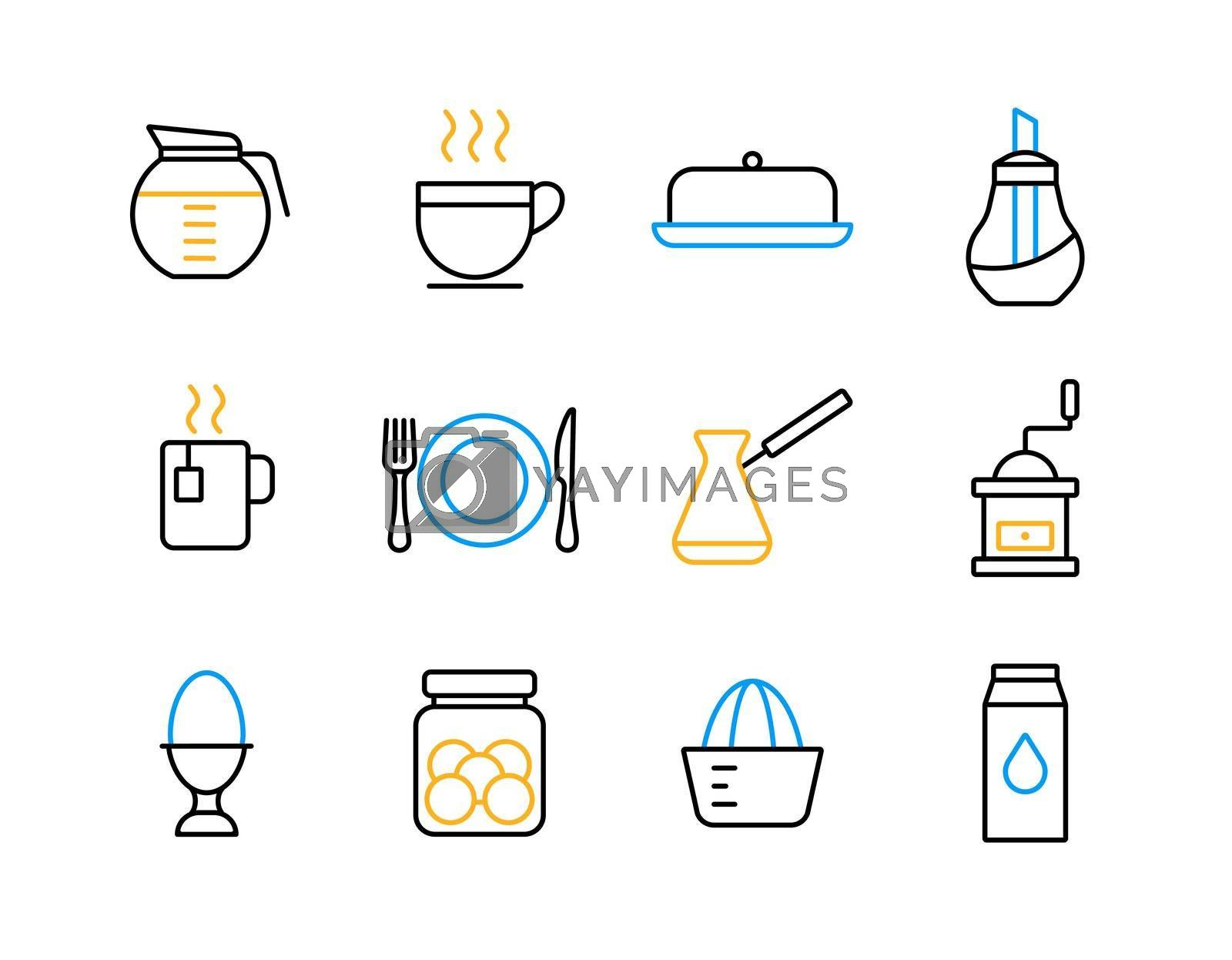 Royalty free image of Breakfast and kitchen vector flat icon set by nosik