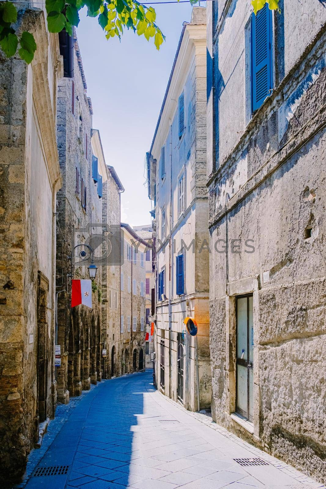 Overview of Fiuggi in Italy, Scenic sight in Fiuggi, Province of Frosinone, Lazio, central Italy. Europe, a couple walking on the colorful streets of Fiuggi. September 2020