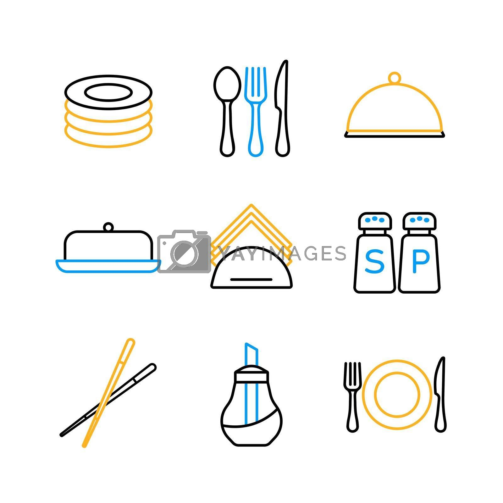 Royalty free image of Restaurant vector icon set. Serving food sign by nosik