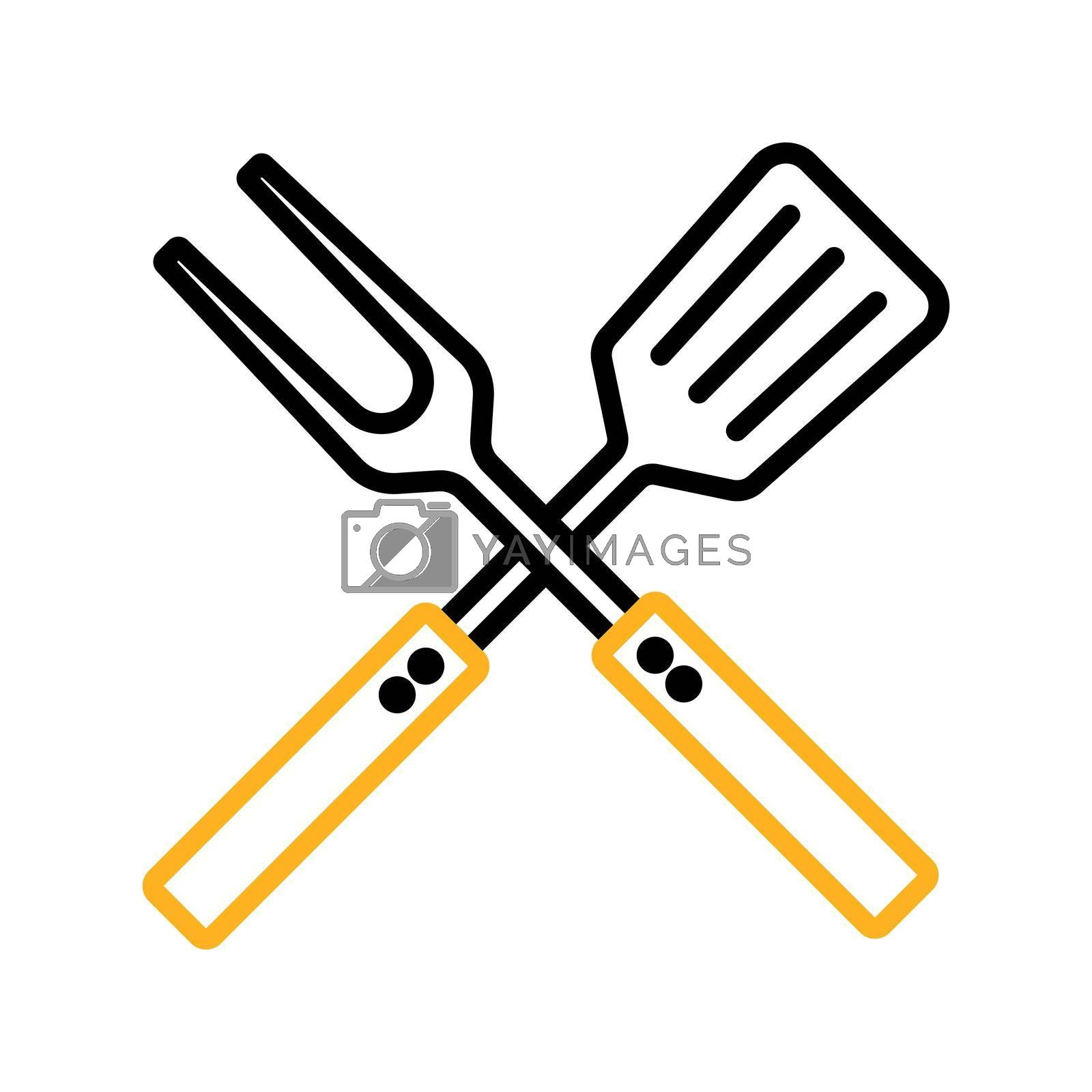 Royalty free image of Big fork and spatula vector icon. Kitchen appliance by nosik