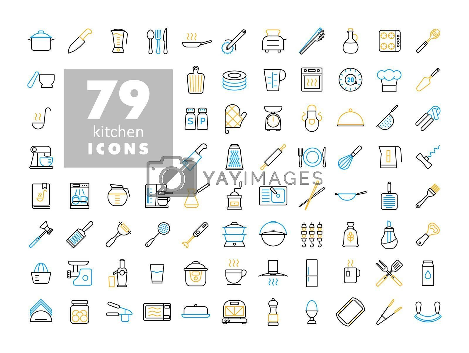 Royalty free image of Cooking and kitchen vector flat icons set by nosik
