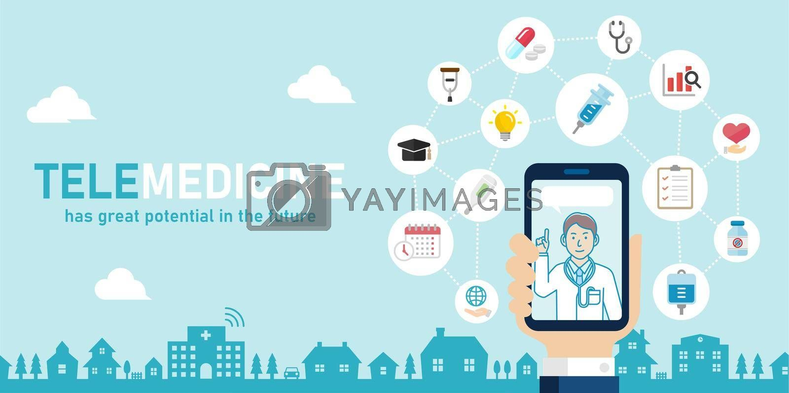 Royalty free image of Telemedicine,  telehealth concept banner illustration by barks