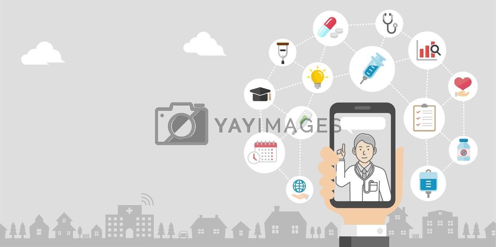 Royalty free image of Telemedicine,  telehealth concept banner illustration ( no text ) by barks