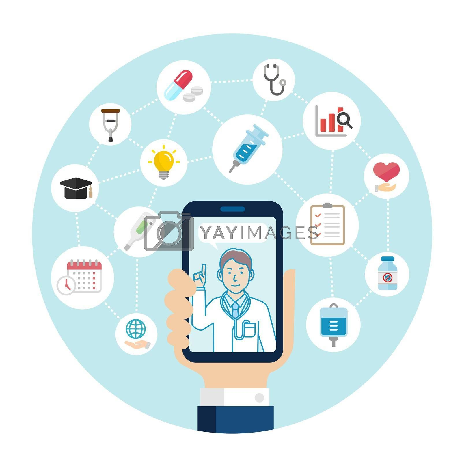 Royalty free image of Telemedicine,  telehealth concept banner illustration (round type) by barks