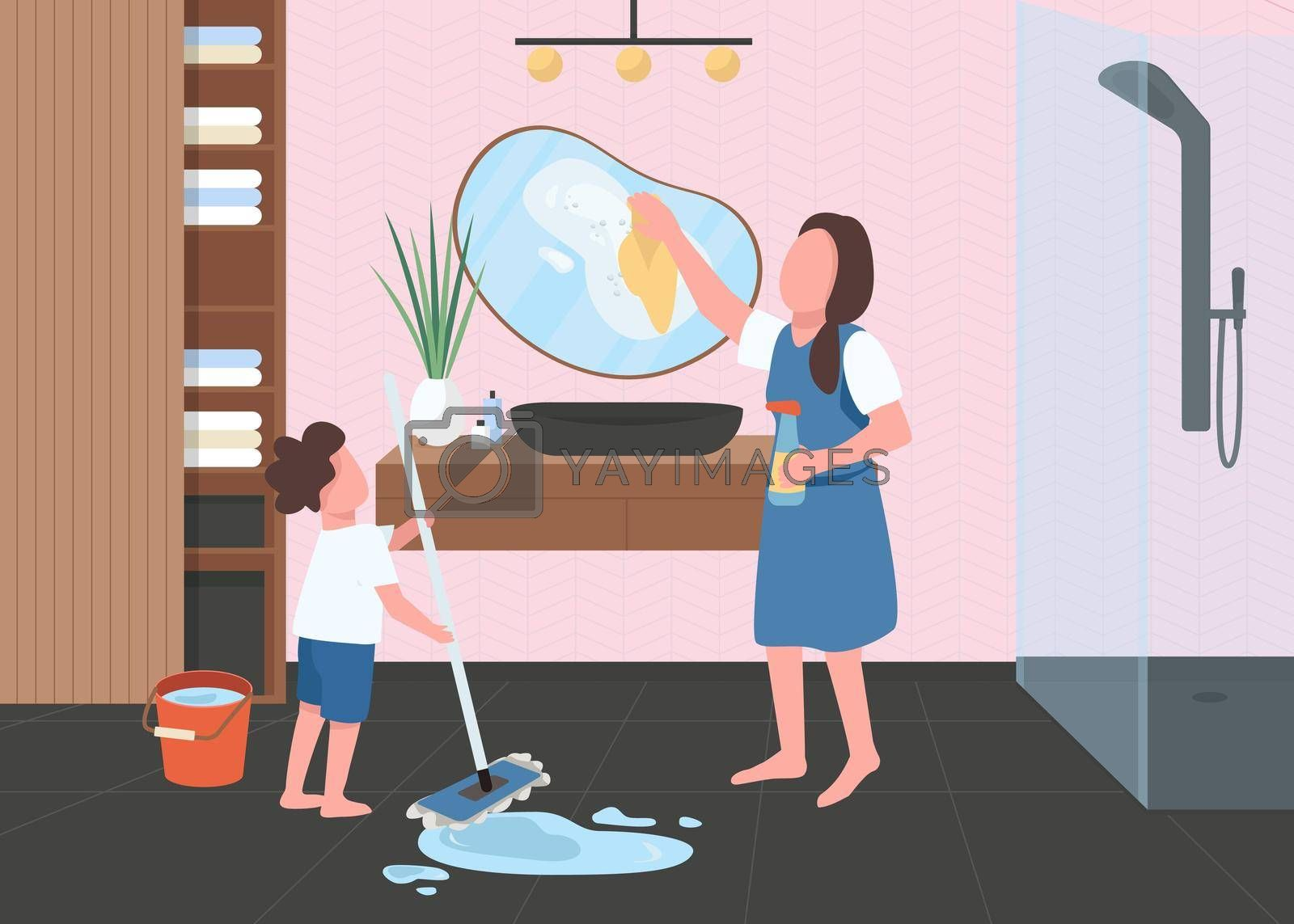 Royalty free image of Spring cleaning in bathroom flat color vector illustration by ntl