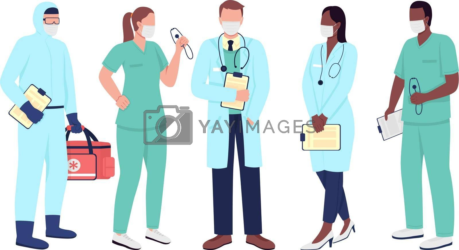 Royalty free image of Healthcare workers flat color vector faceless character set by ntl