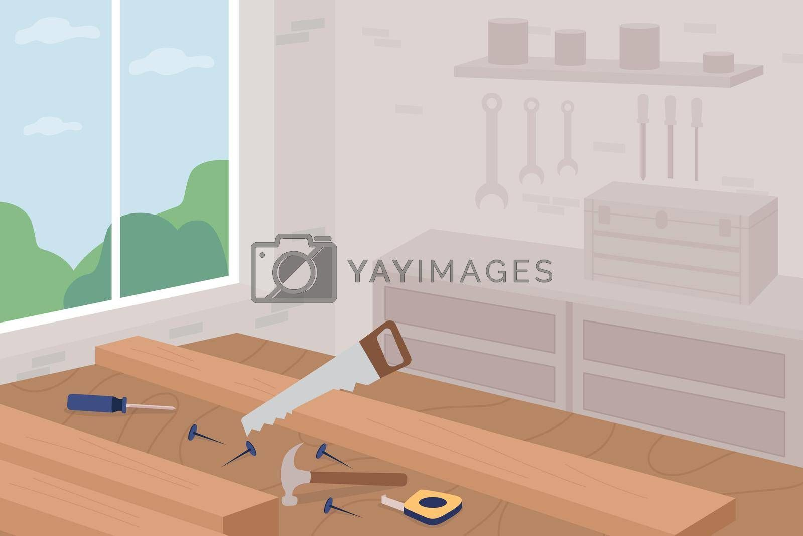 Royalty free image of Carpentry master class flat color vector illustration by ntl