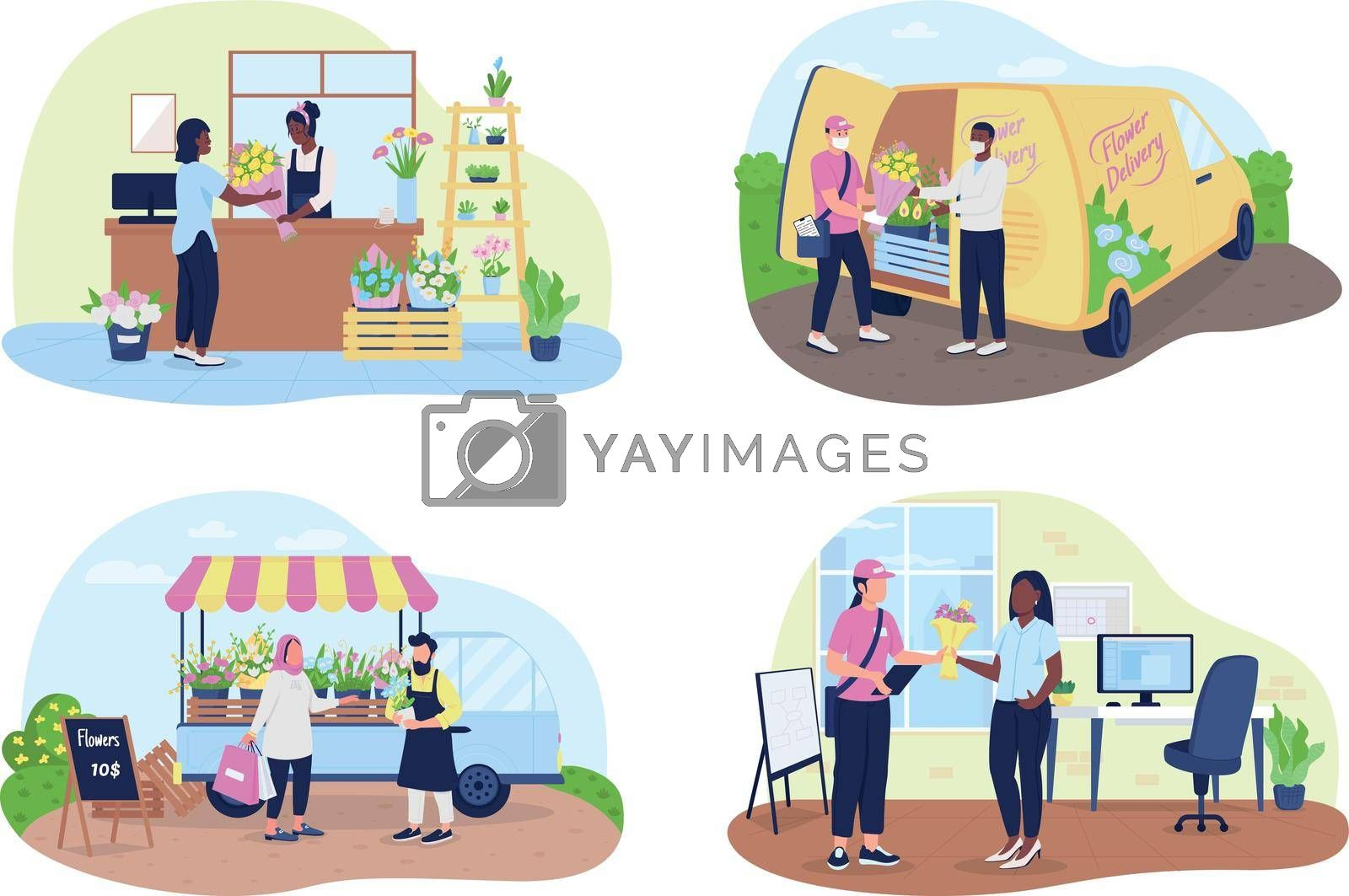 Royalty free image of Flower shop and delivery service 2D vector web banner, poster set by ntl