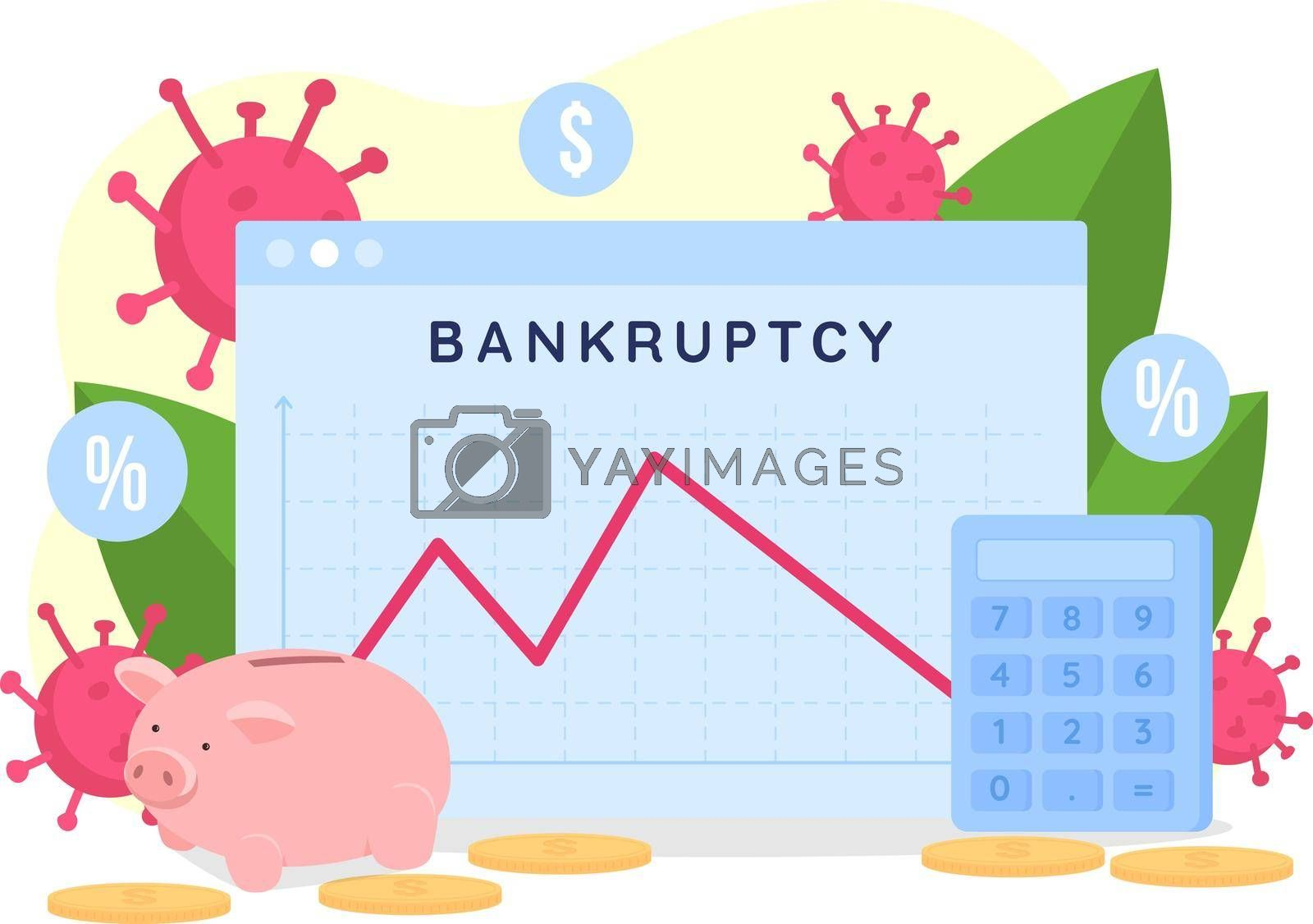 Royalty free image of Bankruptcy rate graph flat concept vector illustration by ntl